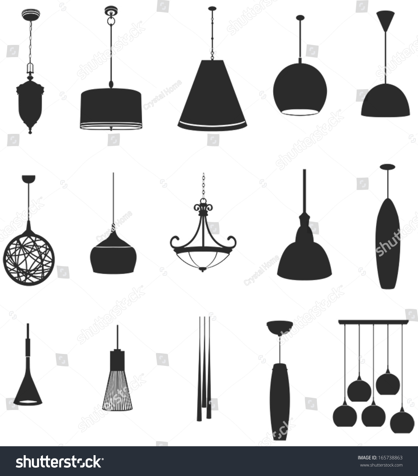 Sets Silhouette Ceiling Lamps Light Home Stock Vector 165738863 ...