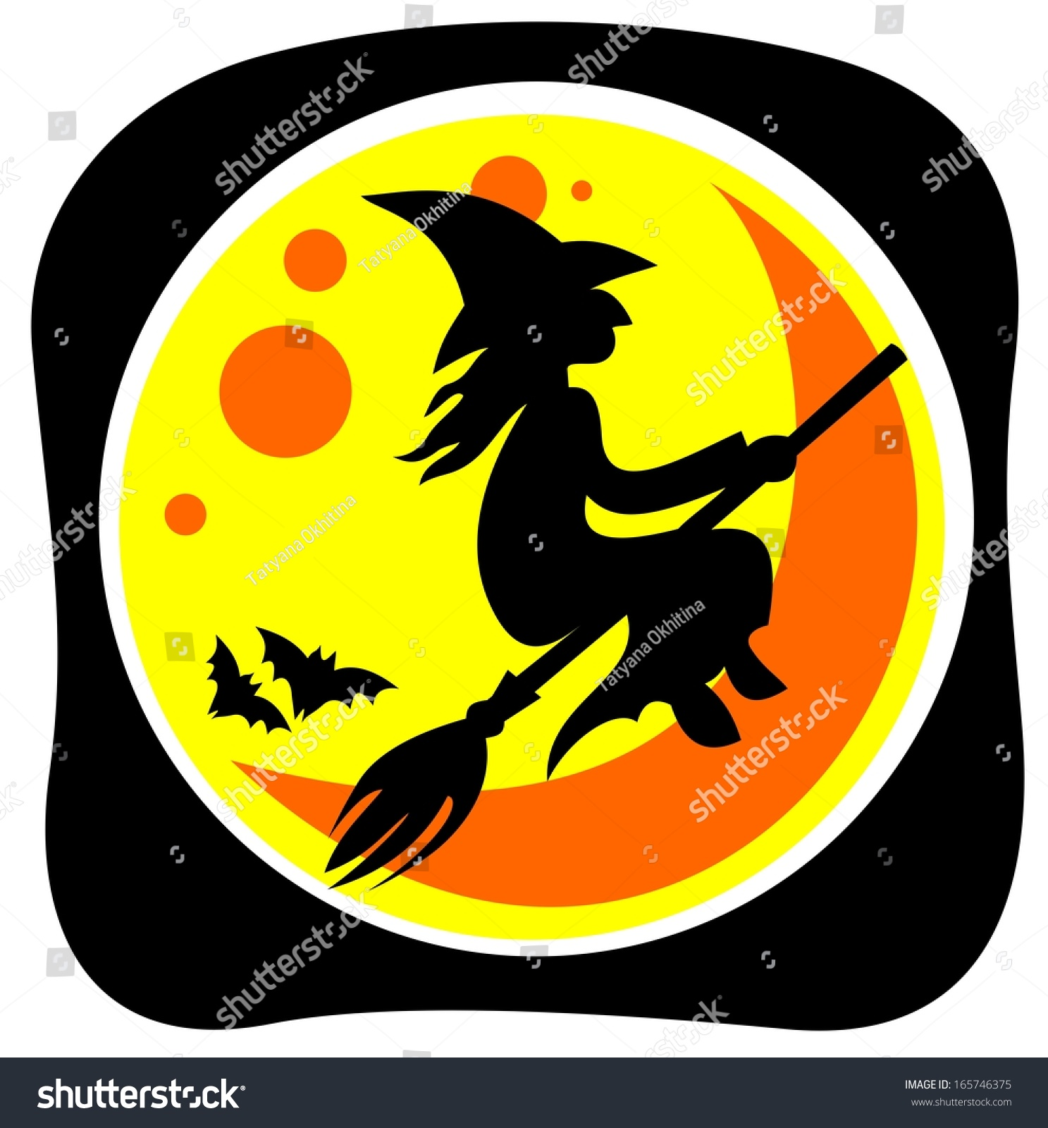 halloween flying witch and moon on a black background