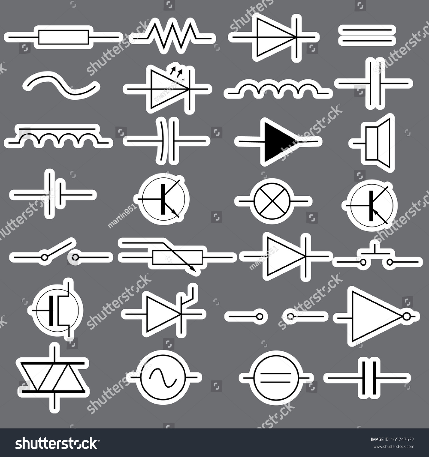 Schematic Symbols Electrical Engineering Stickers Eps 10 Stock Diagram In Eps10