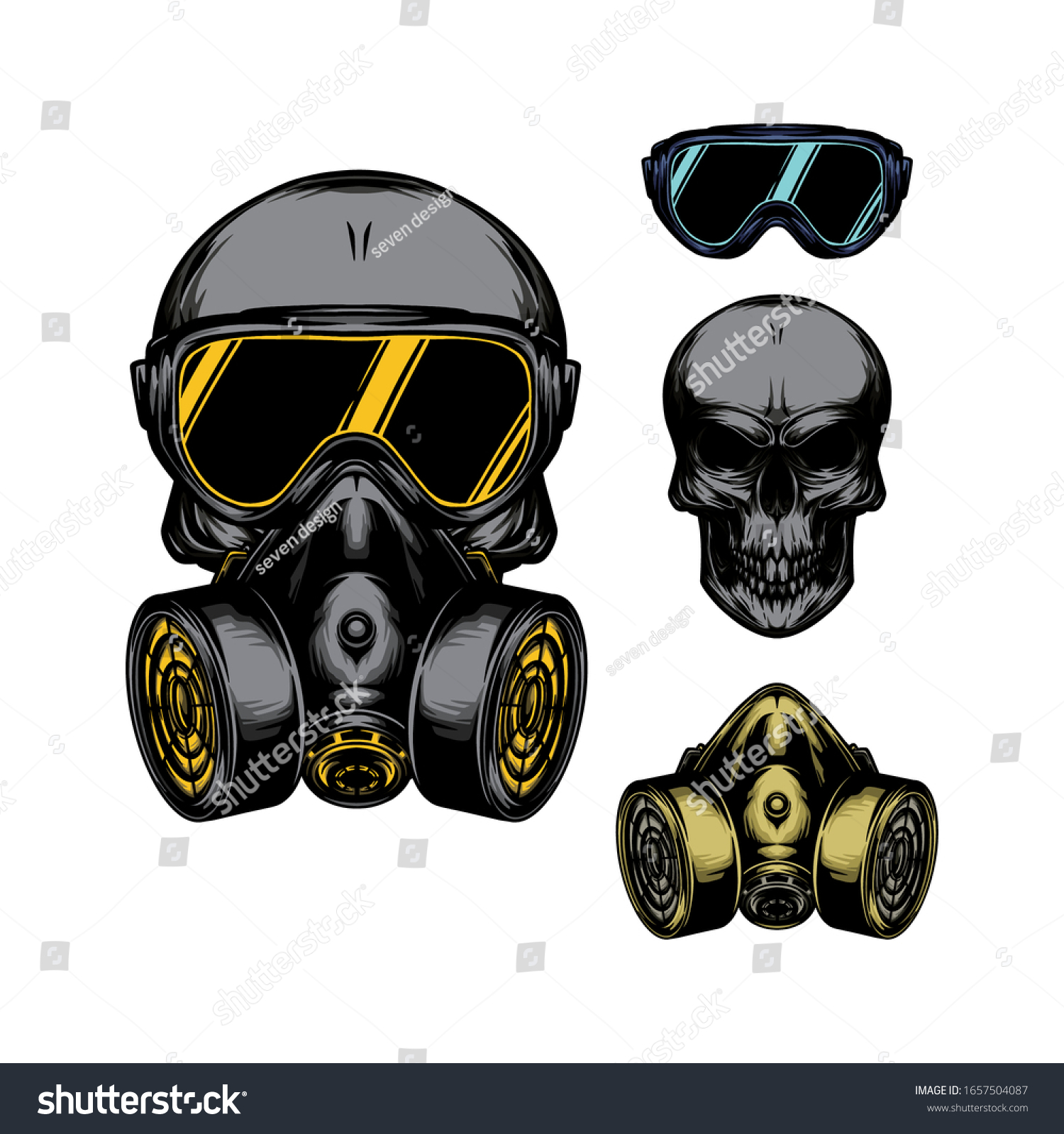 Skull Gas Mask Illustration Toxicity Emblem Stock Vector Royalty Free 1657504087
