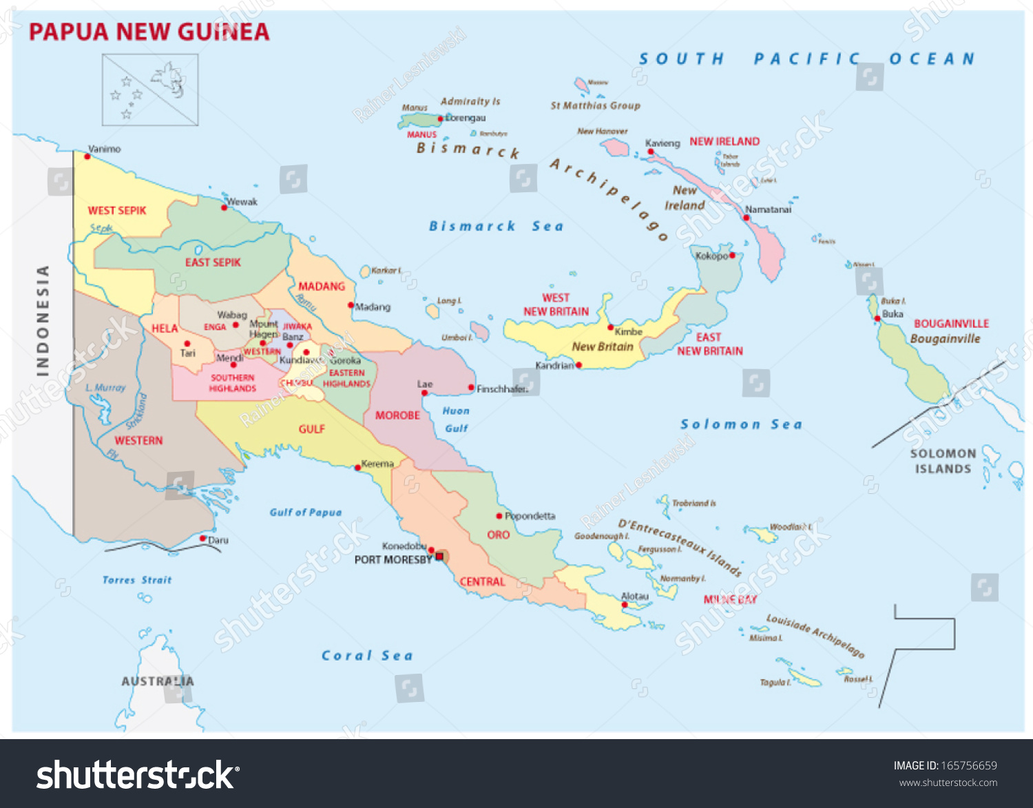 Papua New Guinea Administrative Map Stock Vector (Royalty Free ...