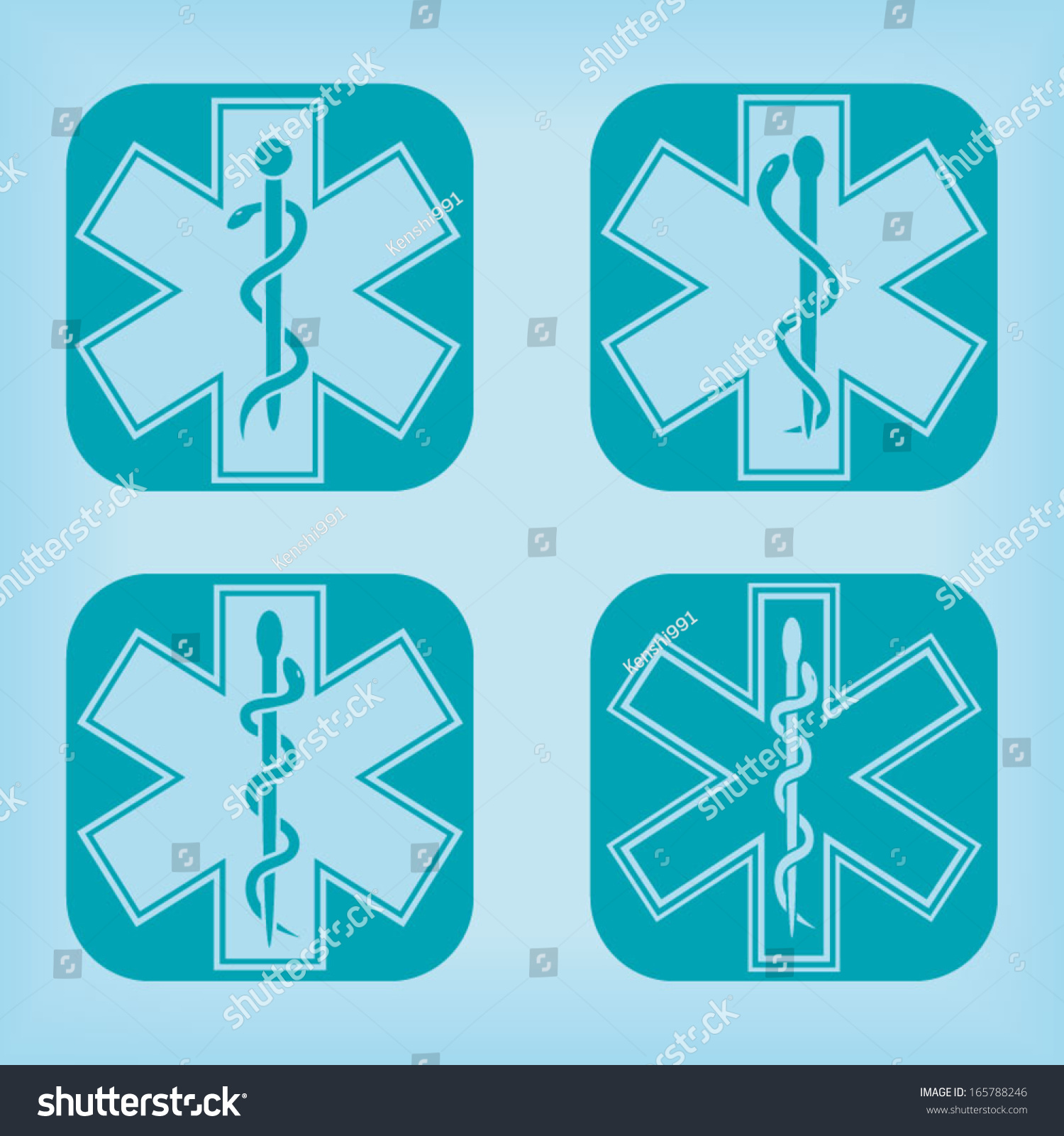 Medical Emergency Symbol Four Variations Stock Vector Royalty Free