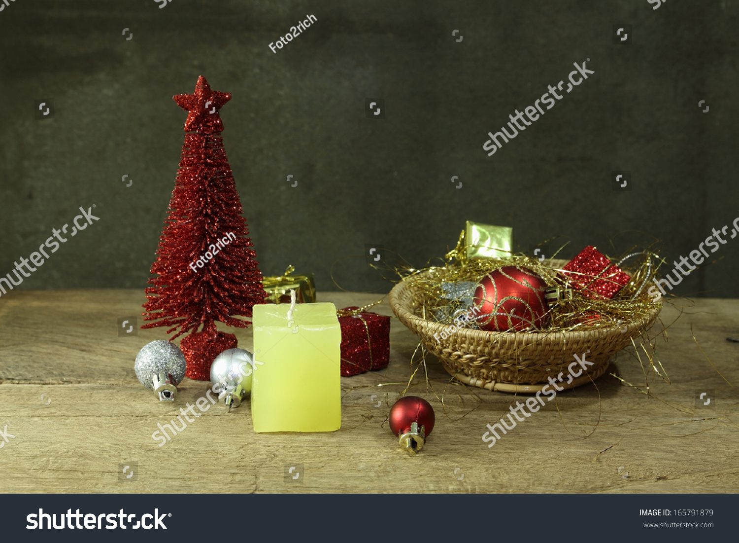 Still Life With Red Pine Tree And Christmas Ornaments