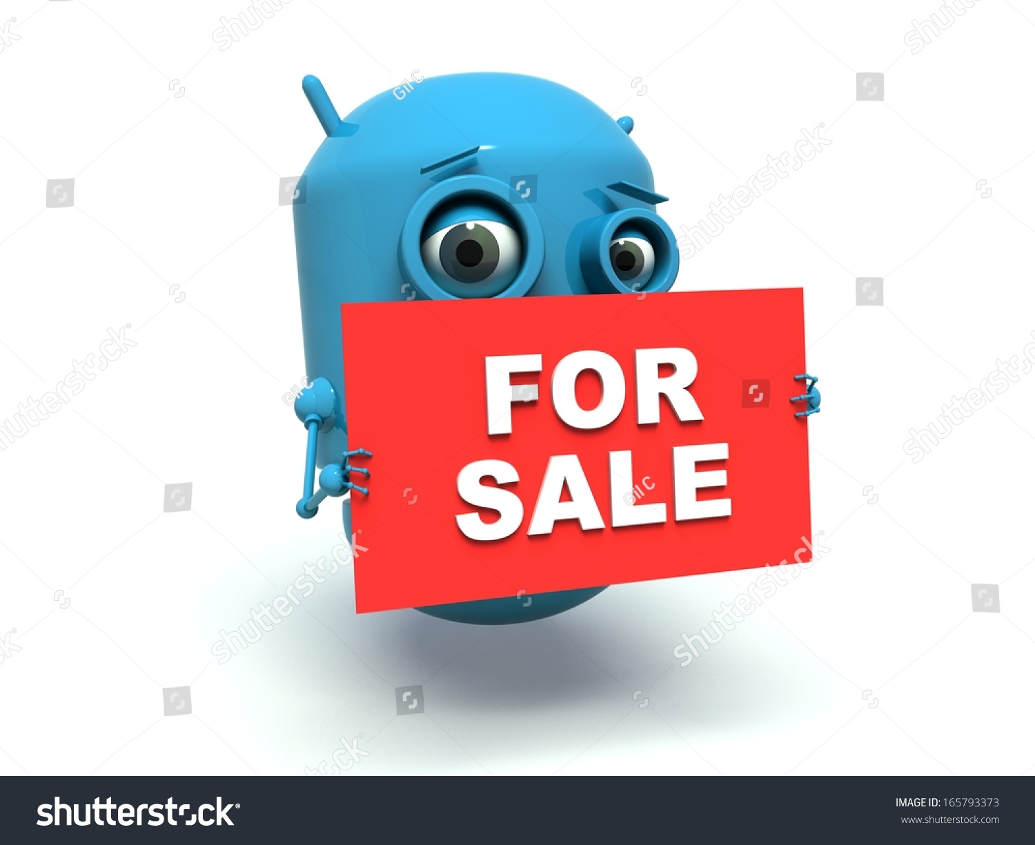cute blue robot holding message board stock illustration 165793373