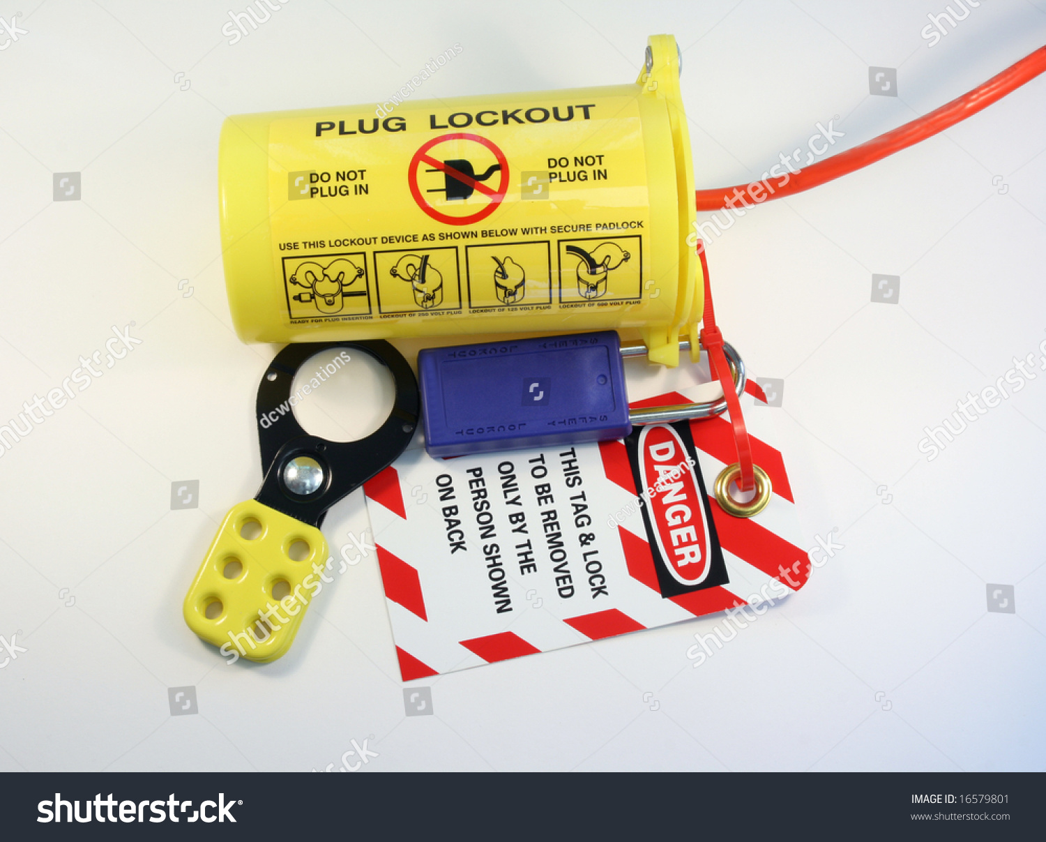 Electrical Extension Cord Protected By Lockout Stock Photo