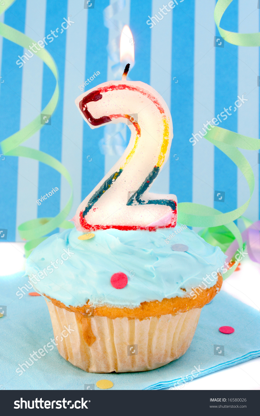 Baby Boys Second Birthday Cupcake Blue Stock Photo Edit Now