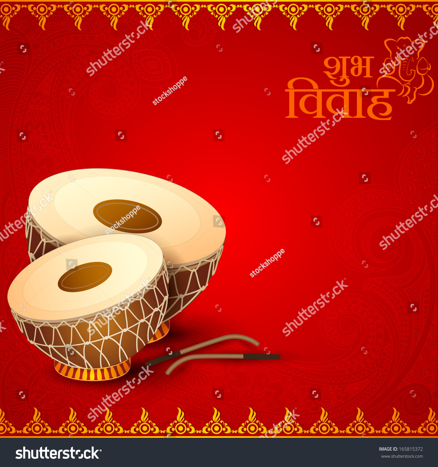 Vector Illustration Of Drum In Indian Wedding Invitation ...