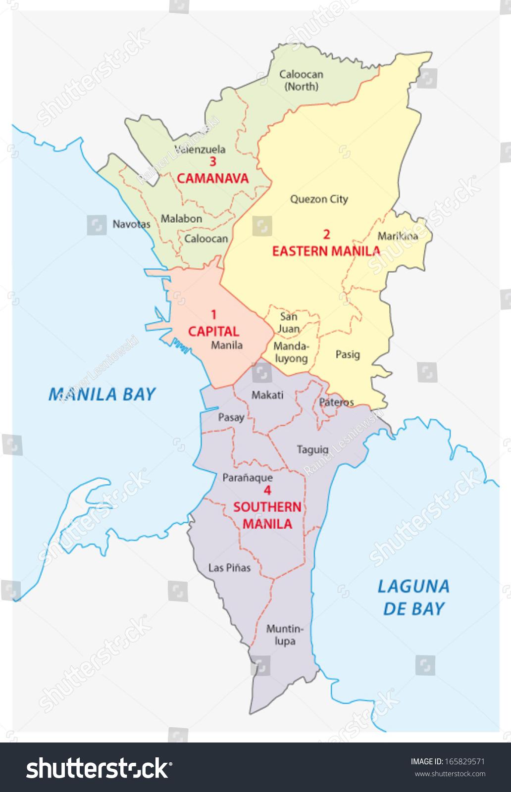 Metro Manila Administrative Map Stock Vector 165829571 Shutterstock