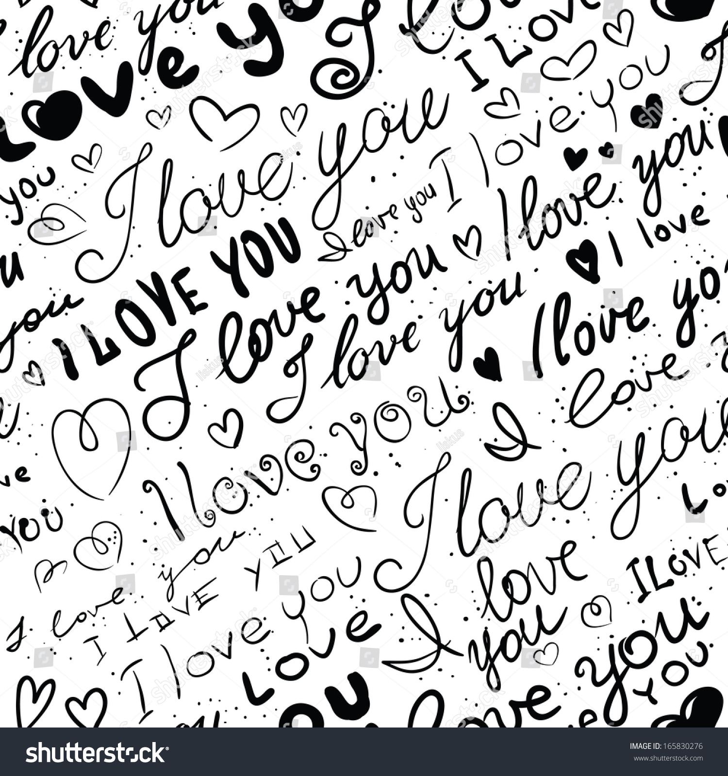 Black and white love seamless valentines background