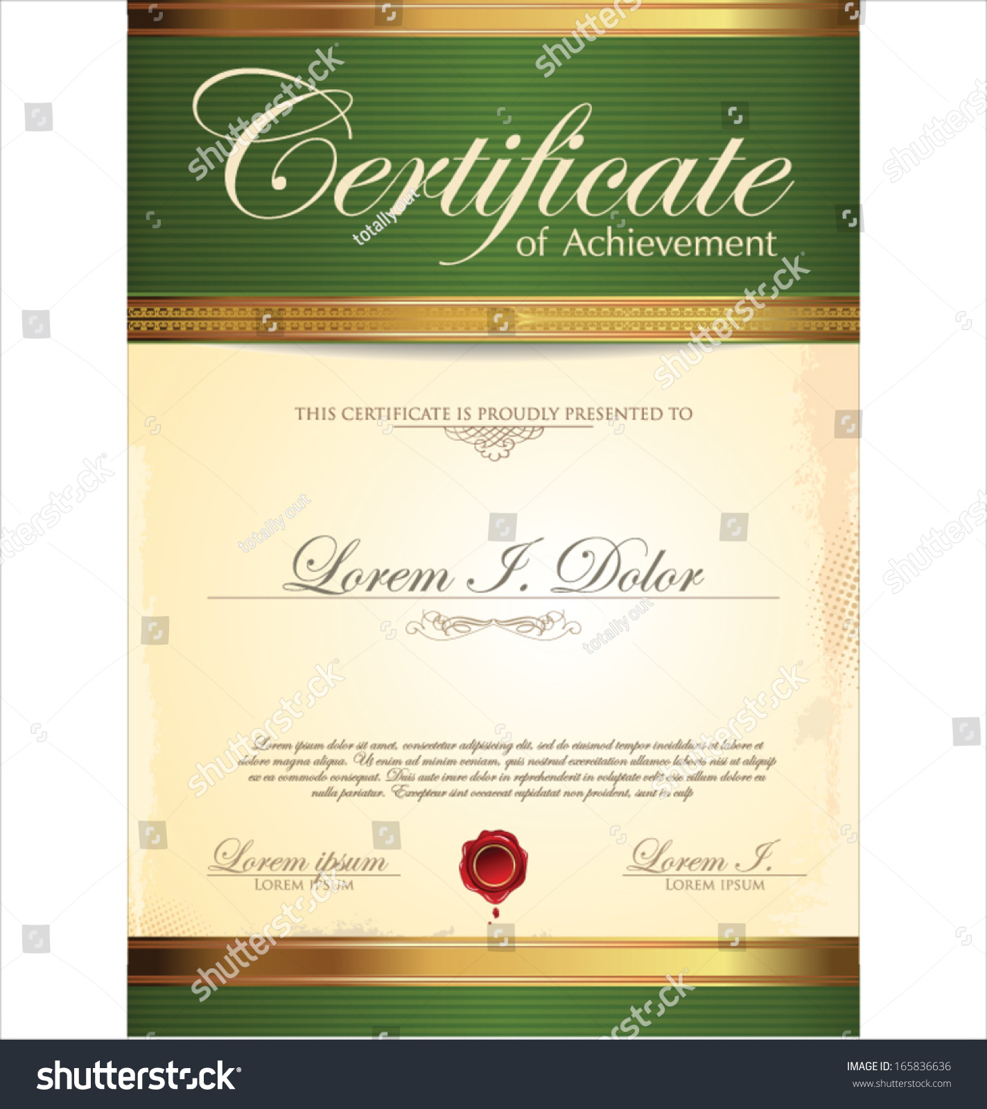 Green And Gold Certificate Template Stock Vector Illustration ...