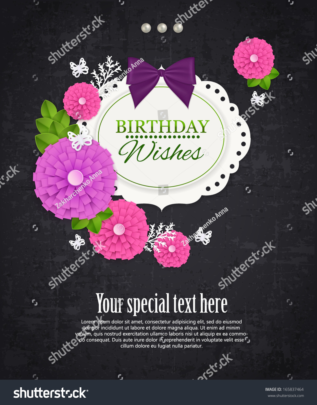 Vintage Birthday Wishes Greeting Card Paper Stock Vector Royalty