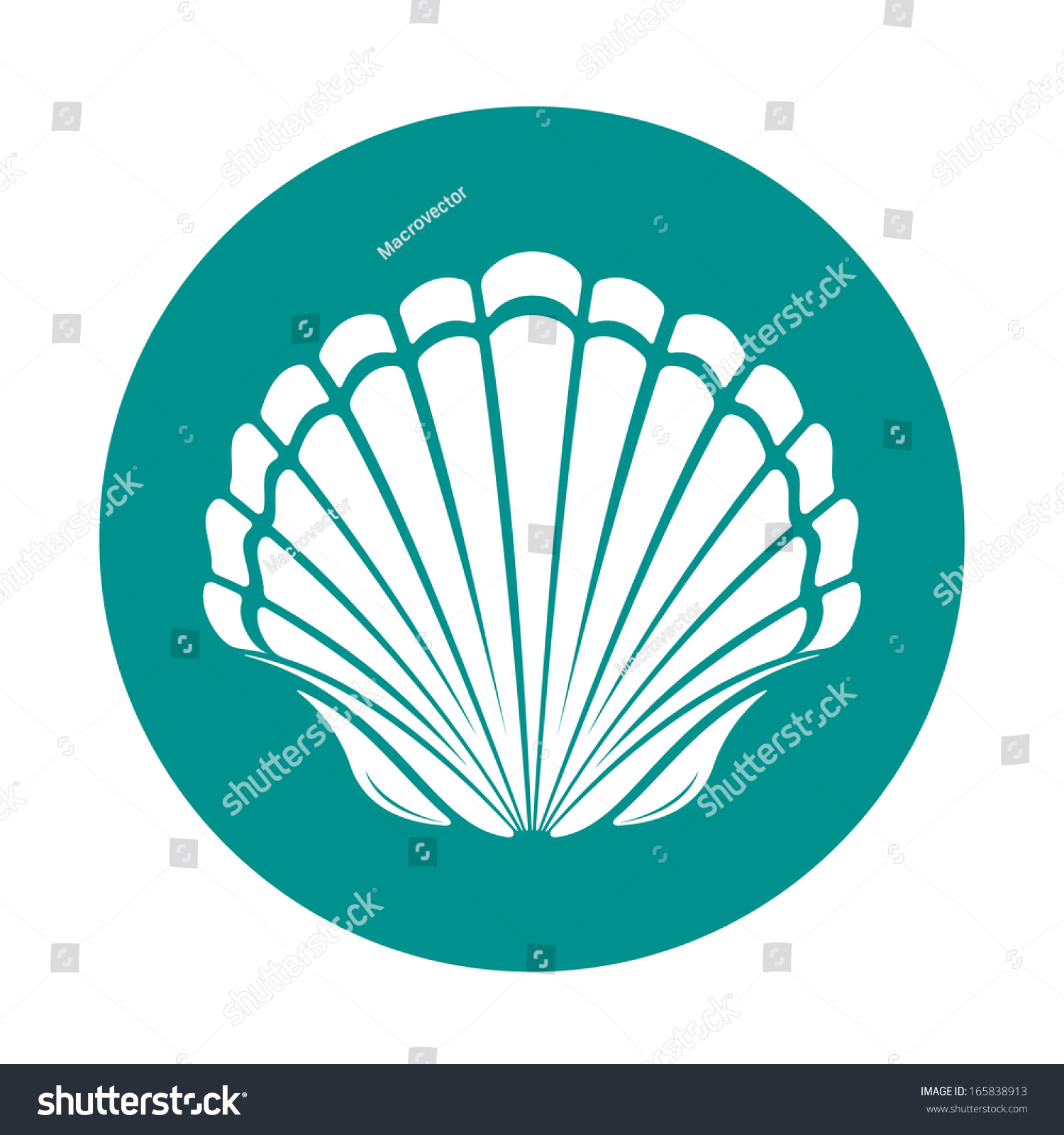 Scallop Sea Shell Symbol Illustration Stock Illustration 165838913