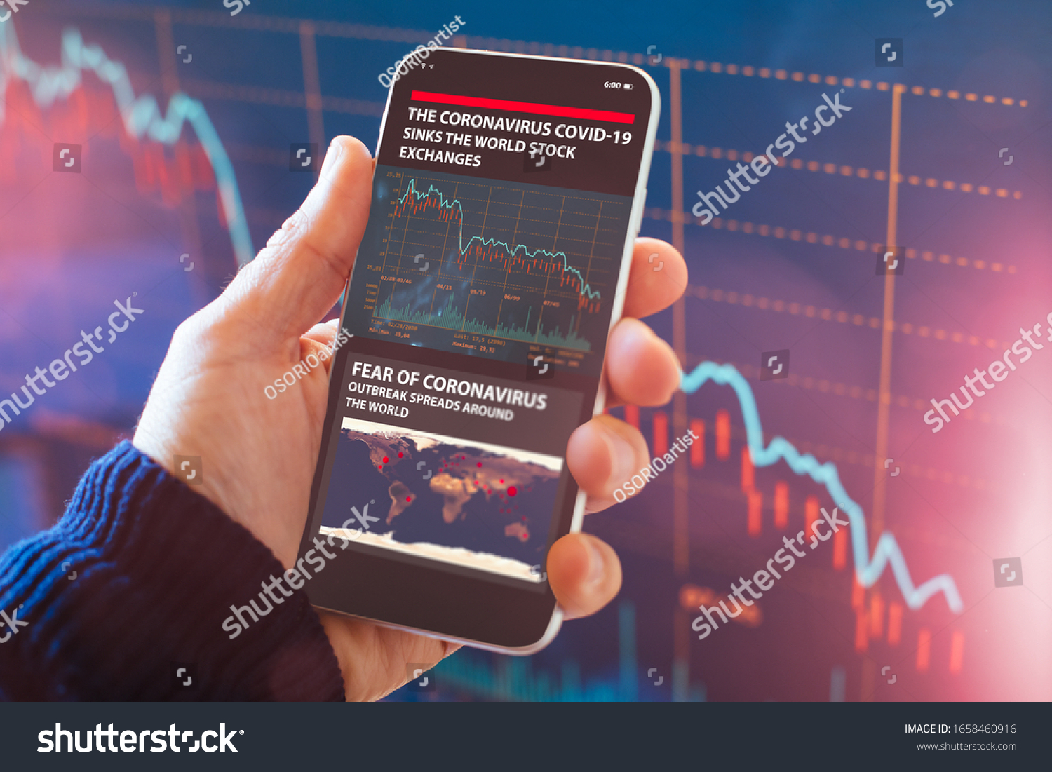 The coronavirus sinks the global stock exchanges. Smartphone app showing the collapse of the stock market due to the global Coronavirus virus crisis. #1658460916