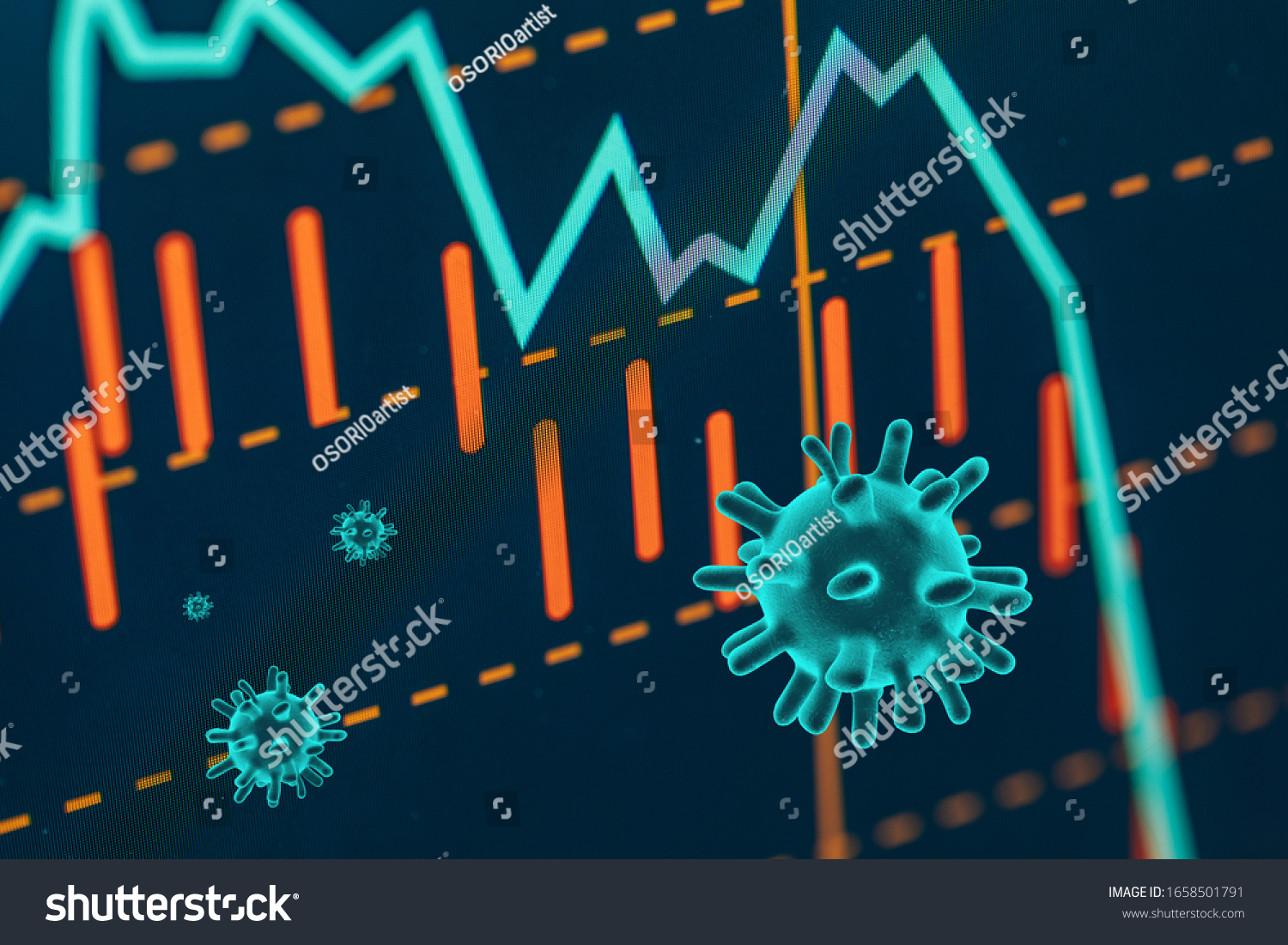 Graphs representing the stock market crash caused by the Coronavirus #1658501791