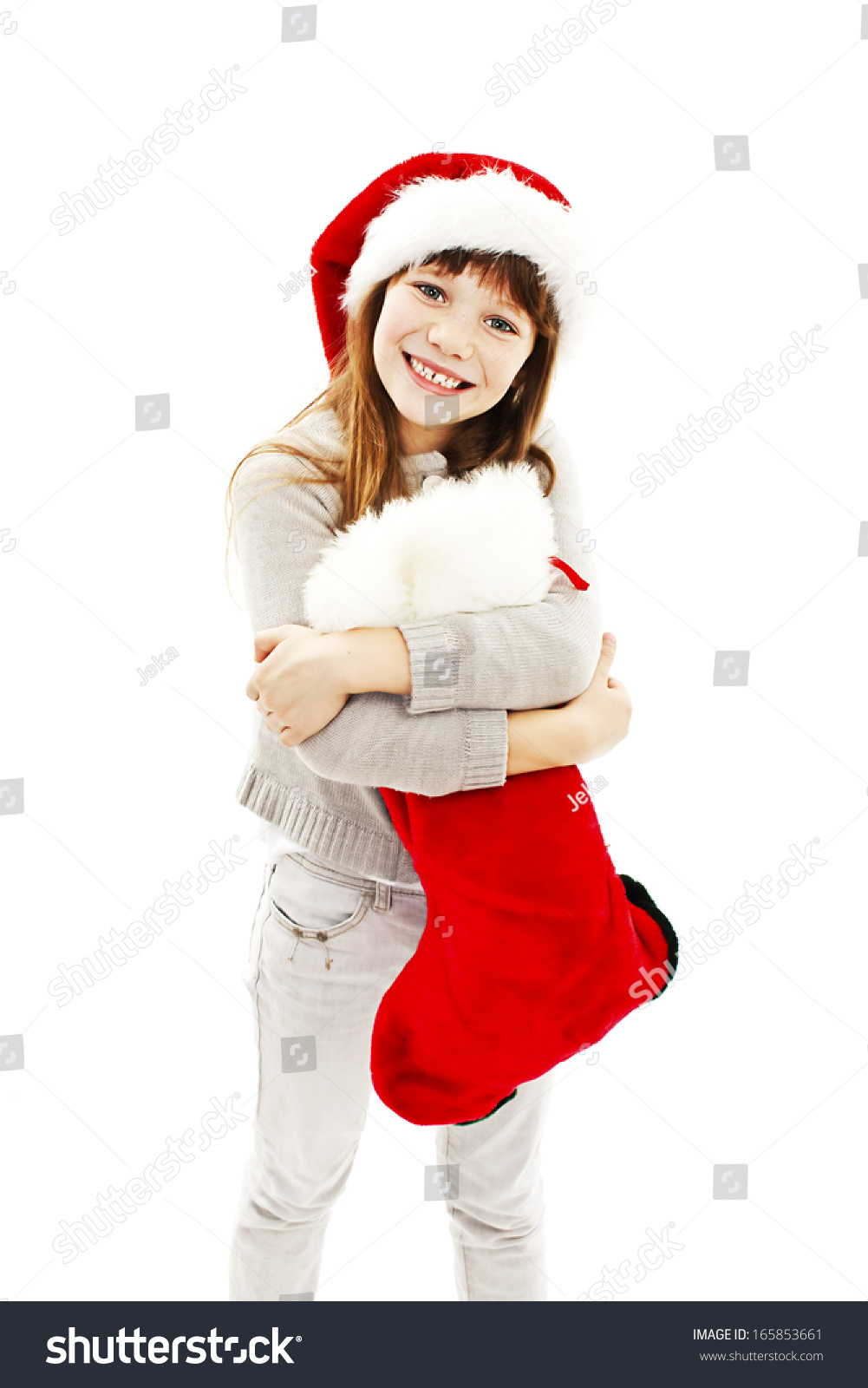 Little girl with Christmas gift. Isolated on white background | EZ ...