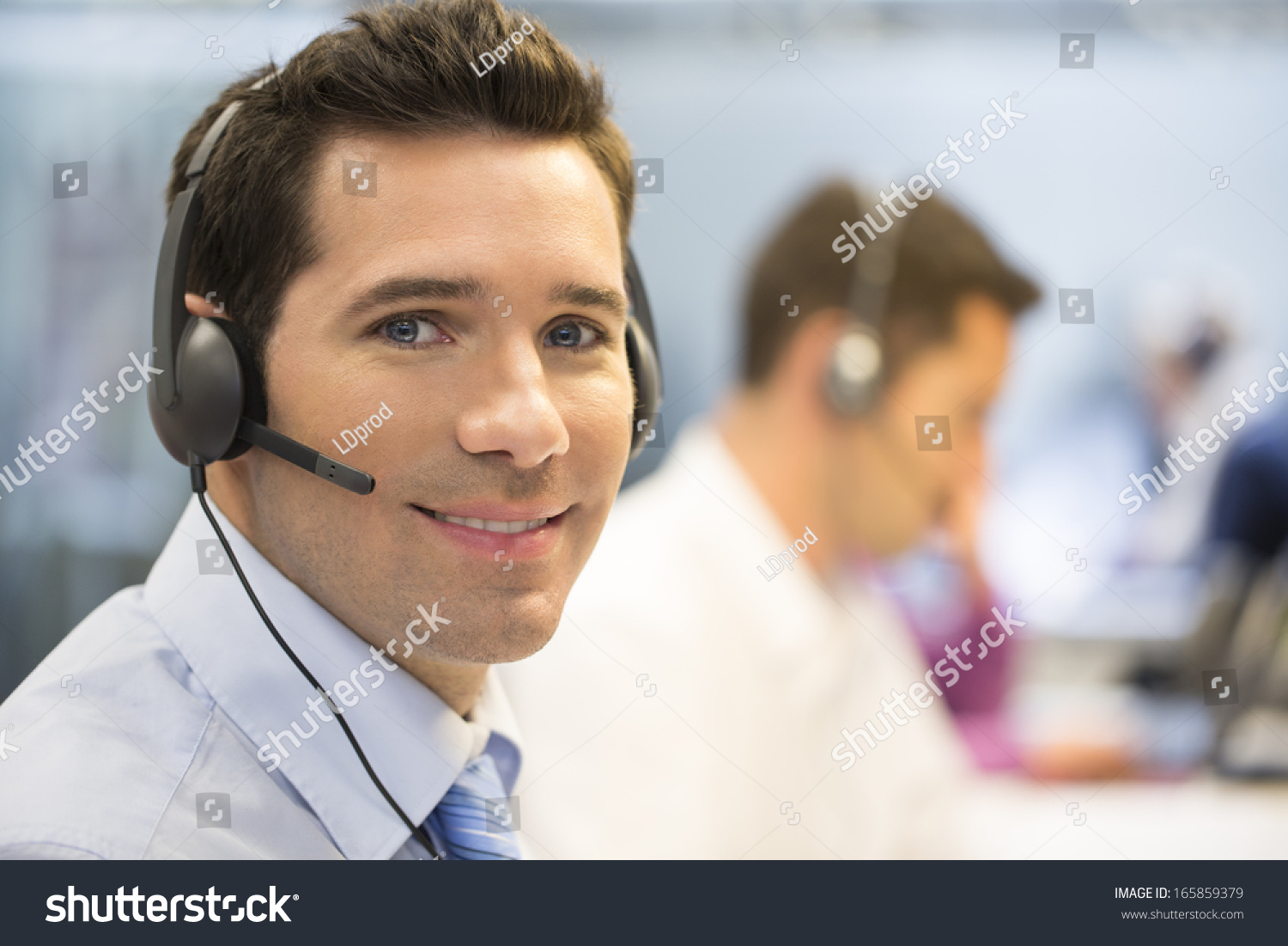 Businessman Office On Phone Headset Looking Stock Photo Edit Now 165859379