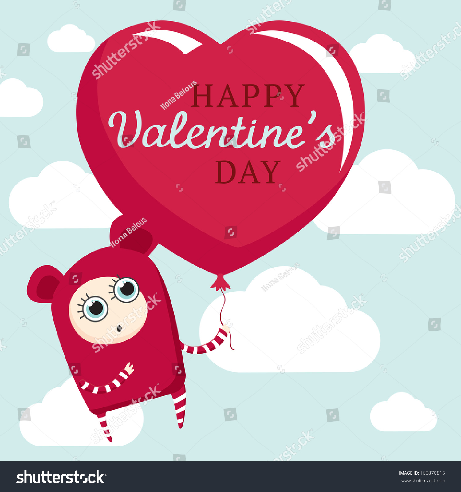 cute cartoon character holding huge heart stock vector 165870815
