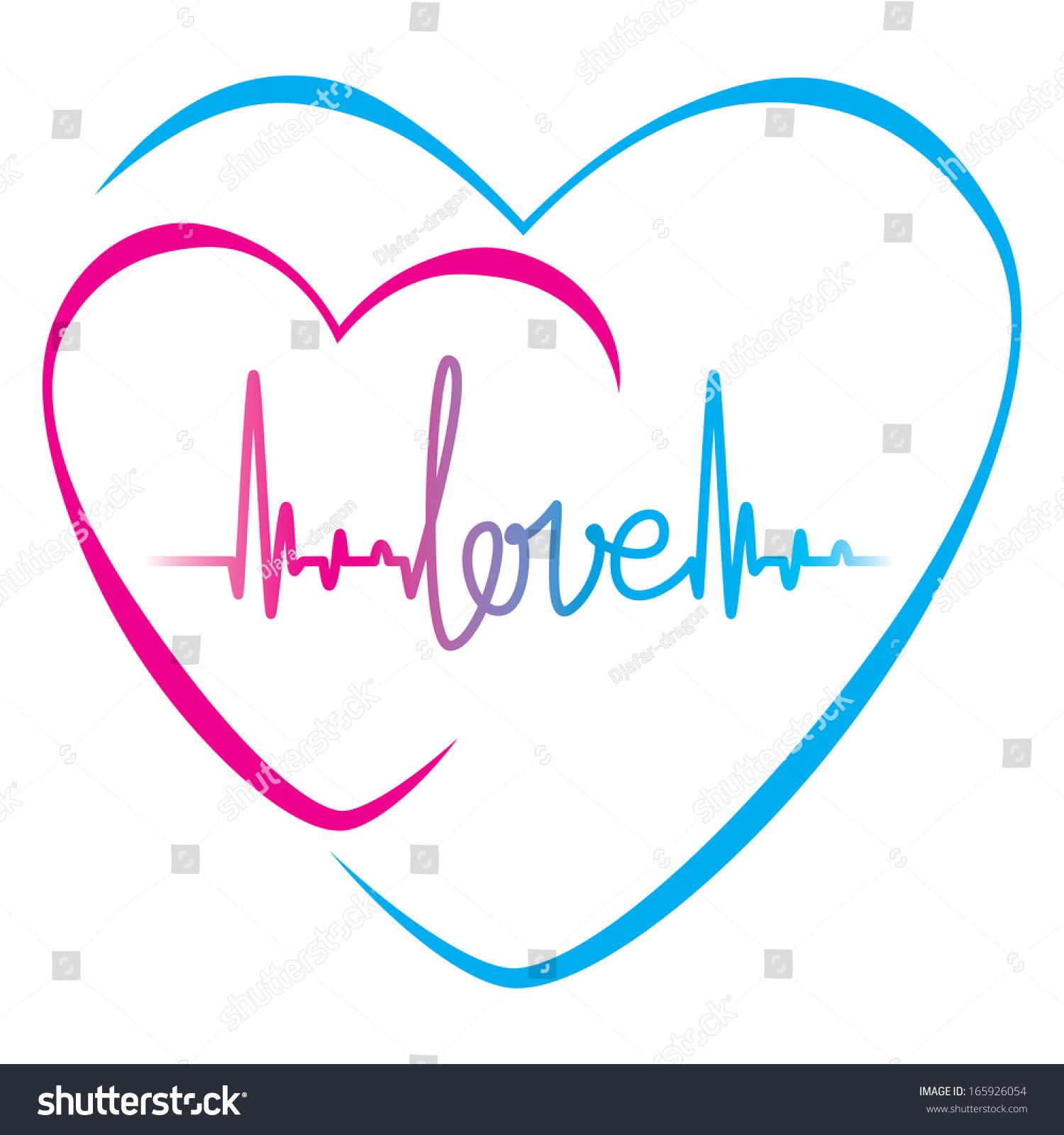 Heartbeat love text heart symbol vector stock vector 165926054 heartbeat with love text and heart symbol vector illustration background biocorpaavc