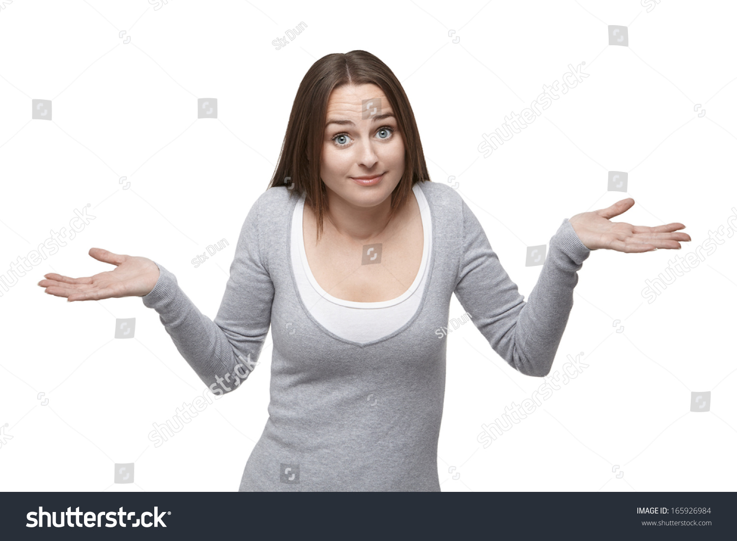 Woman Shrugs Her Shoulders Her Eyebrows Stock Photo Edit Now