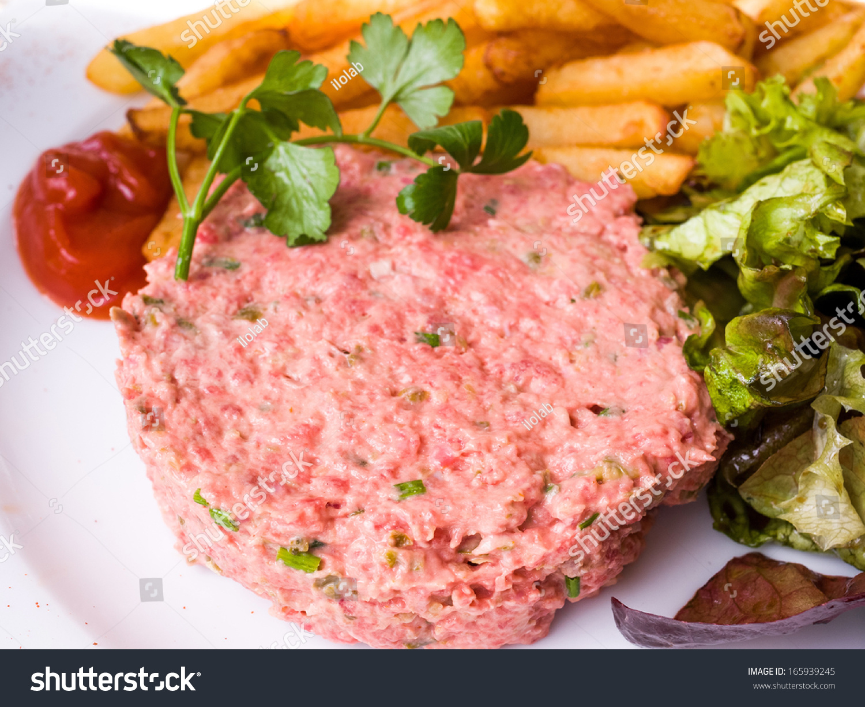 Tasty Steak Tartare (Raw Beef) - Classic Steak Tartare On White Plate ...