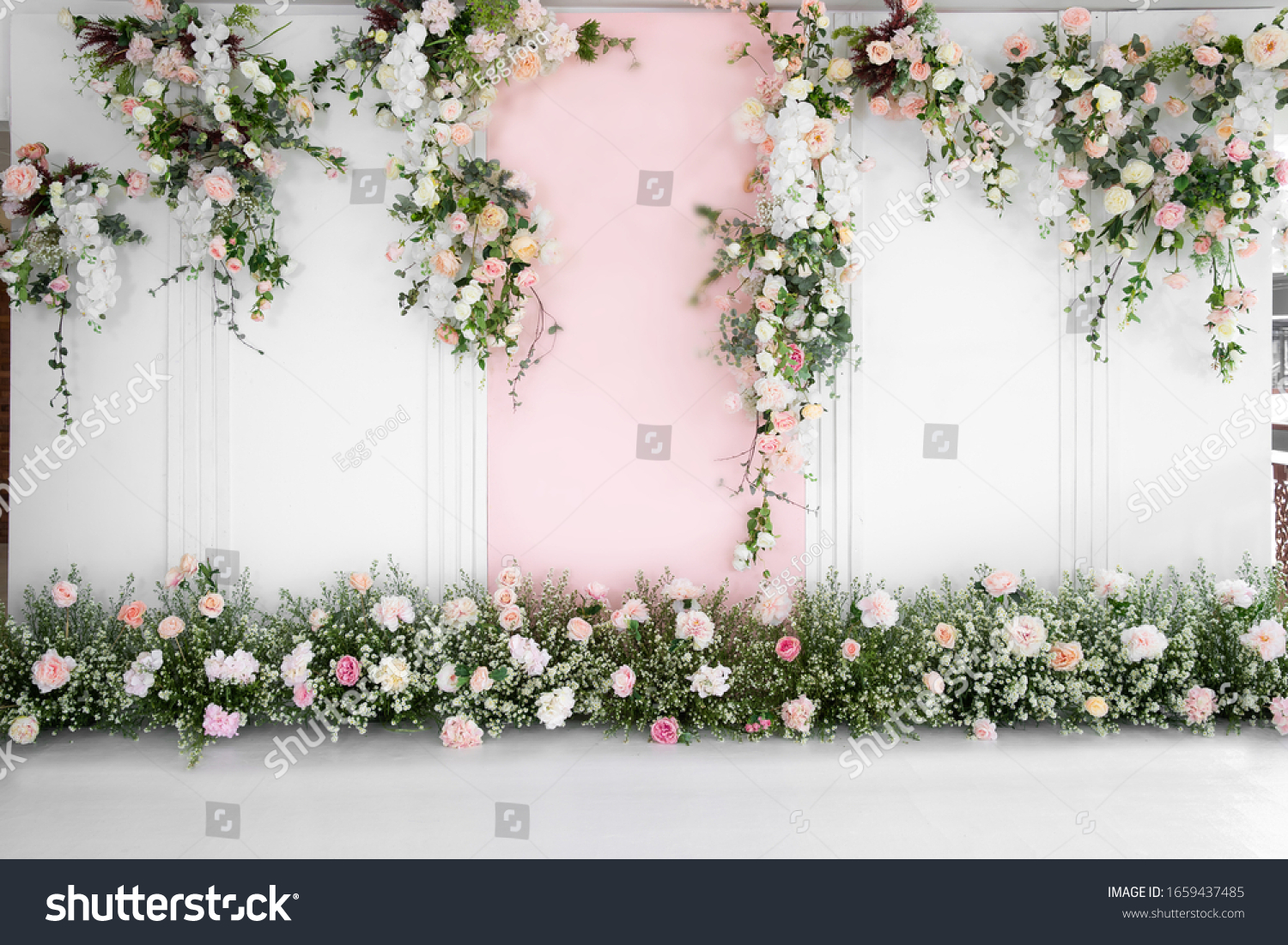 Beautiful wedding flower backdrop For taking pictures. #1659437485