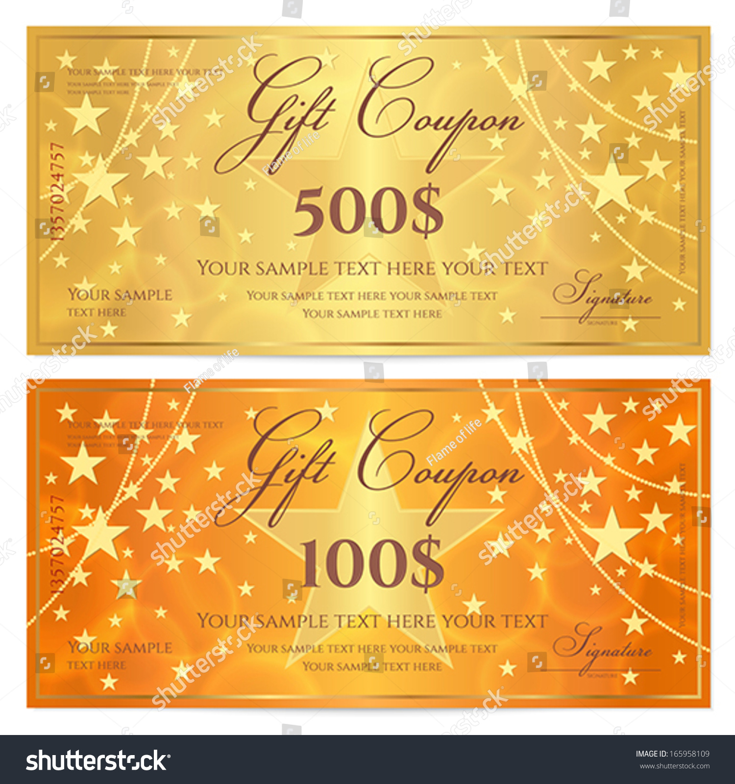 Gift Certificate Voucher Coupon Template Stars Stock ...