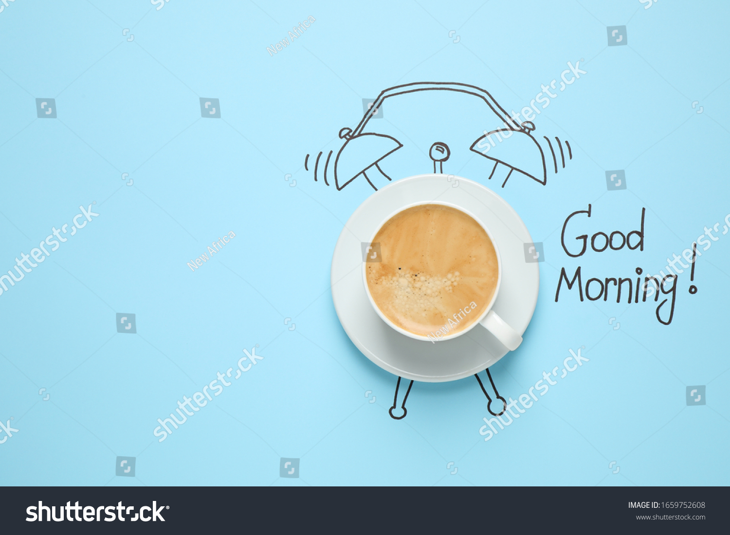 Composition with Good Morning wish and aromatic coffee on light blue background, top view. Space for text #1659752608