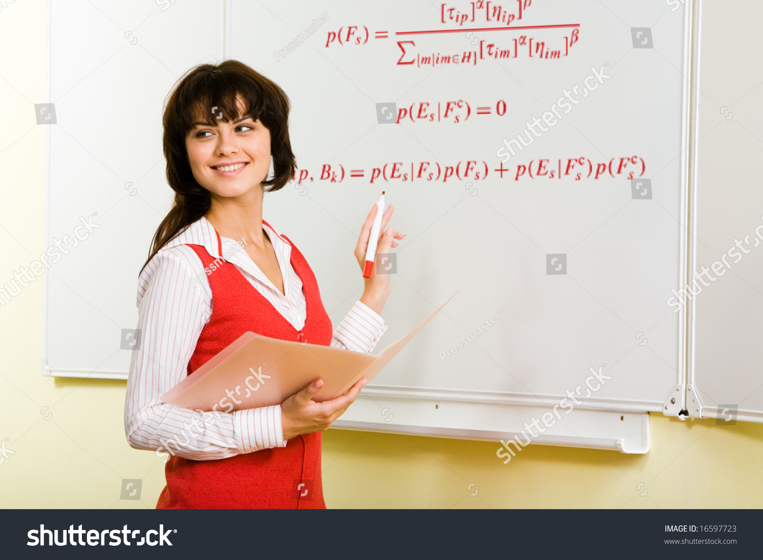 Image Attractive Teacher Writing Formula On Stock Photo 16597723 ...