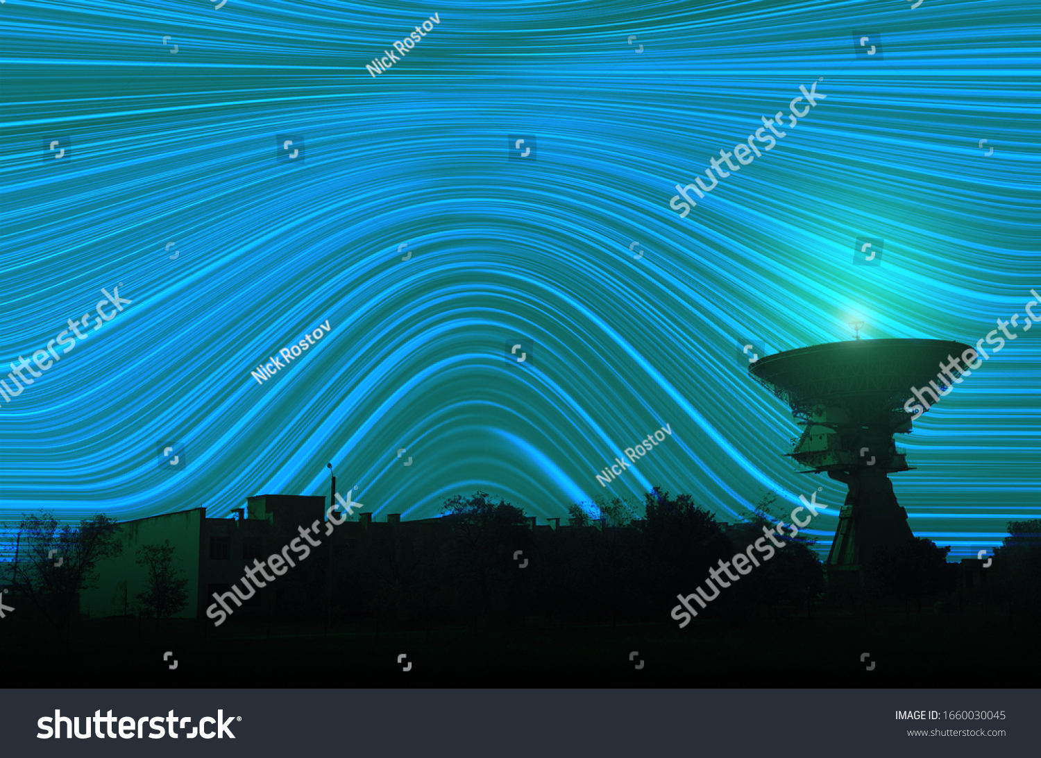 USSR Receiving antenna. Soviet high-precision radio telescope for long-range space communications at night in Zaozernoye, Crimea. Starry sky, long exposure effect. Abstract background.