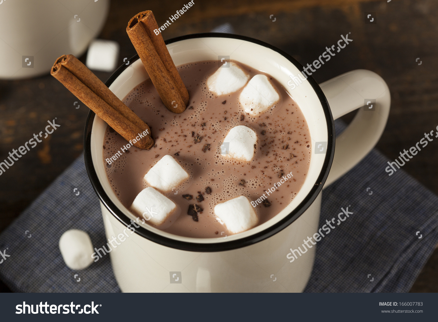 Gourmet Hot Chocolate Milk Cinnamon Marshmallows Stock Photo ...