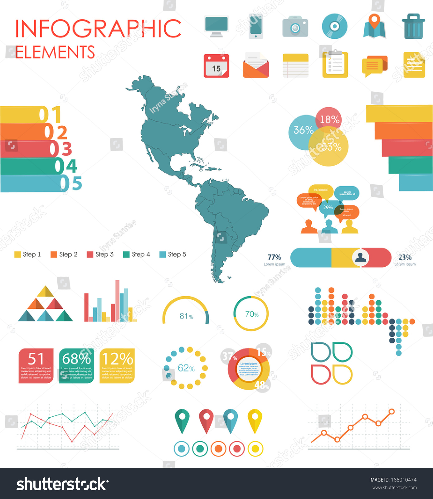 Vector Map Of North And South America Ilration And Infographics Design Template Flat Modern
