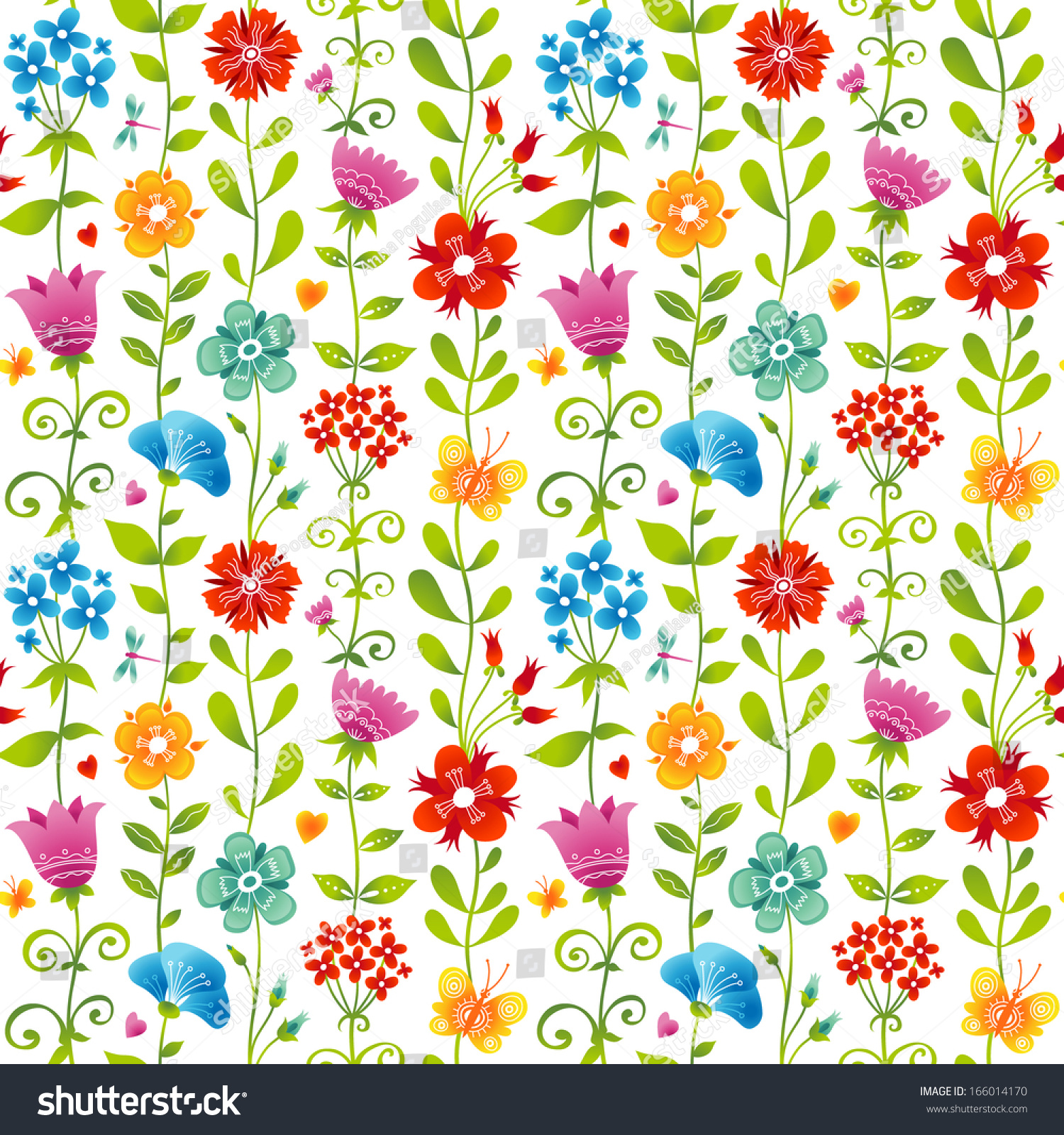 bright floral seamless pattern butterfly dragonfly stock vector