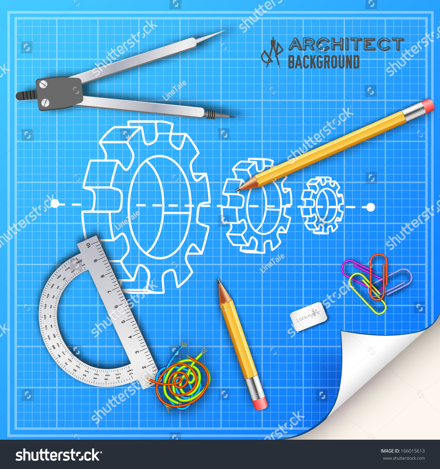 architect blueprint drawing engineering tools vector stock vector