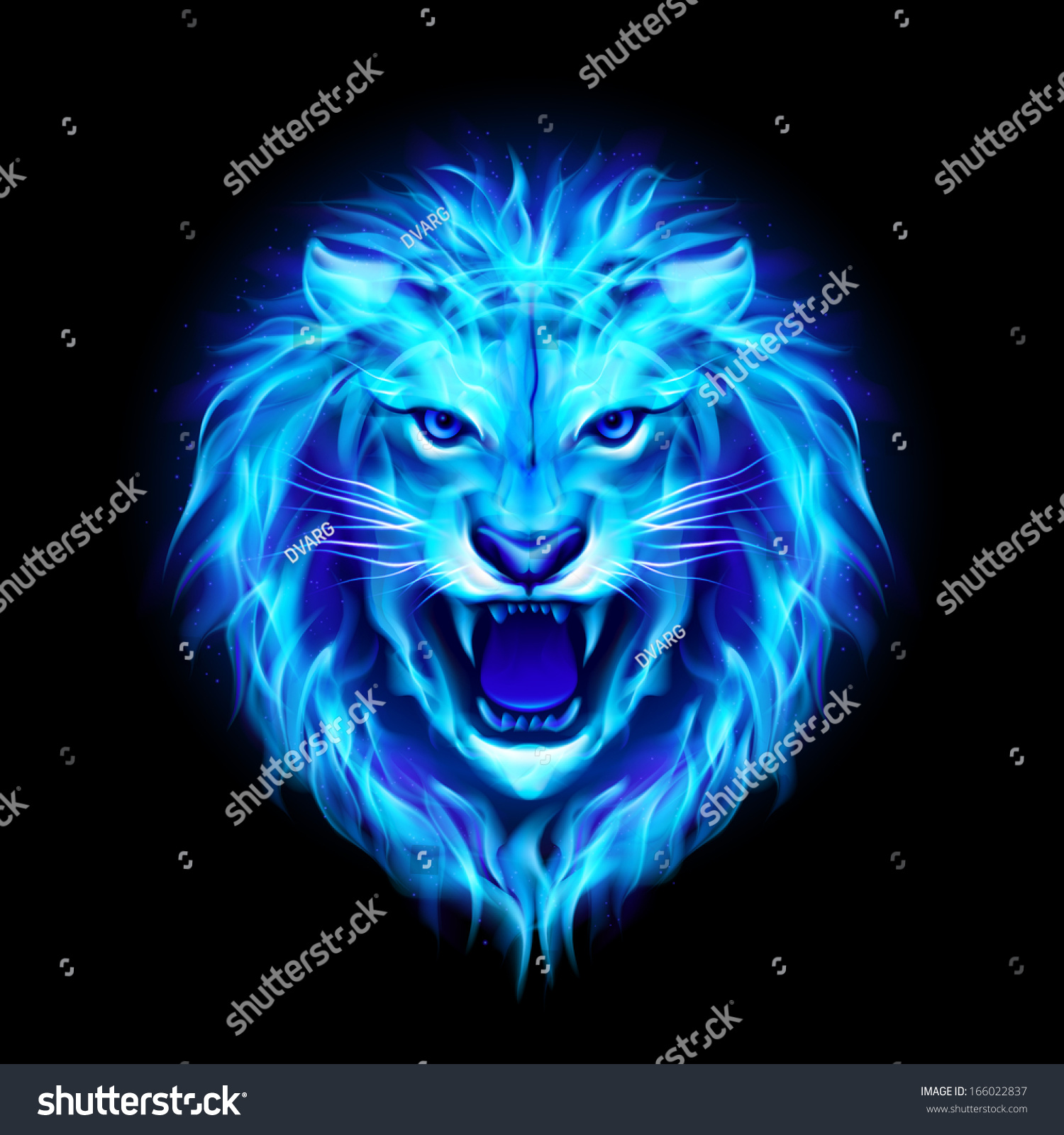 Head Aggressive Blue Fire Lion Isolated Stock Vector Royalty Free