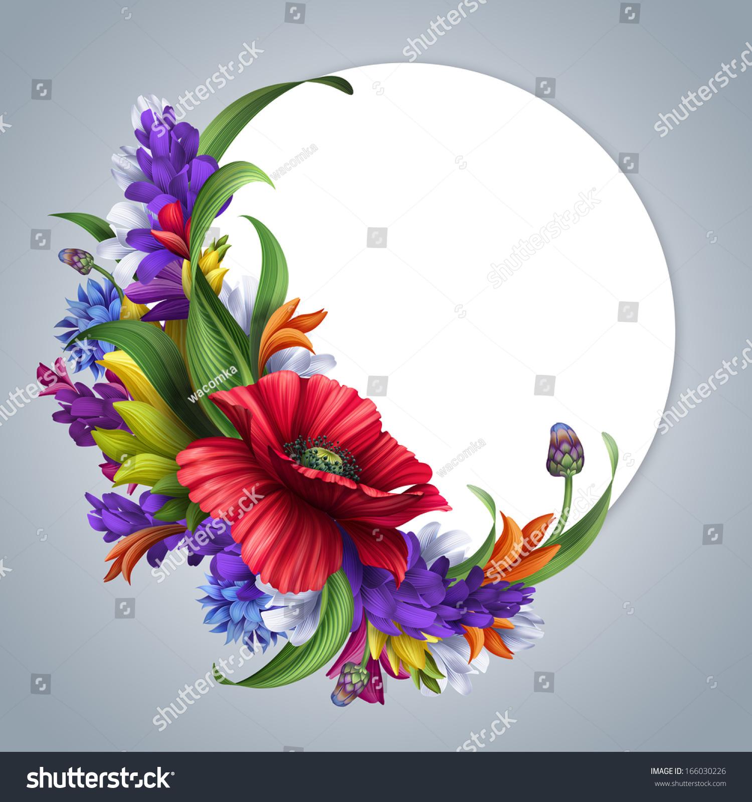 Wild Flowers Round Frame Poppy Cornflower Stock Illustration ...