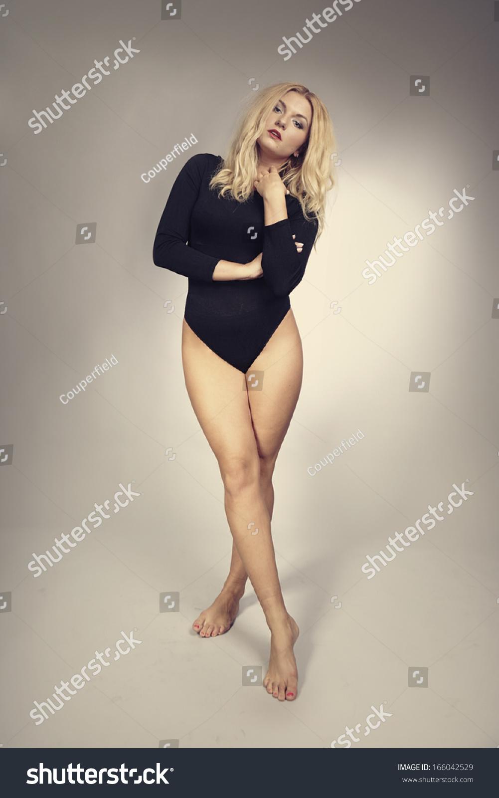 busty blonde beauty posing studio stock photo & image (royalty-free