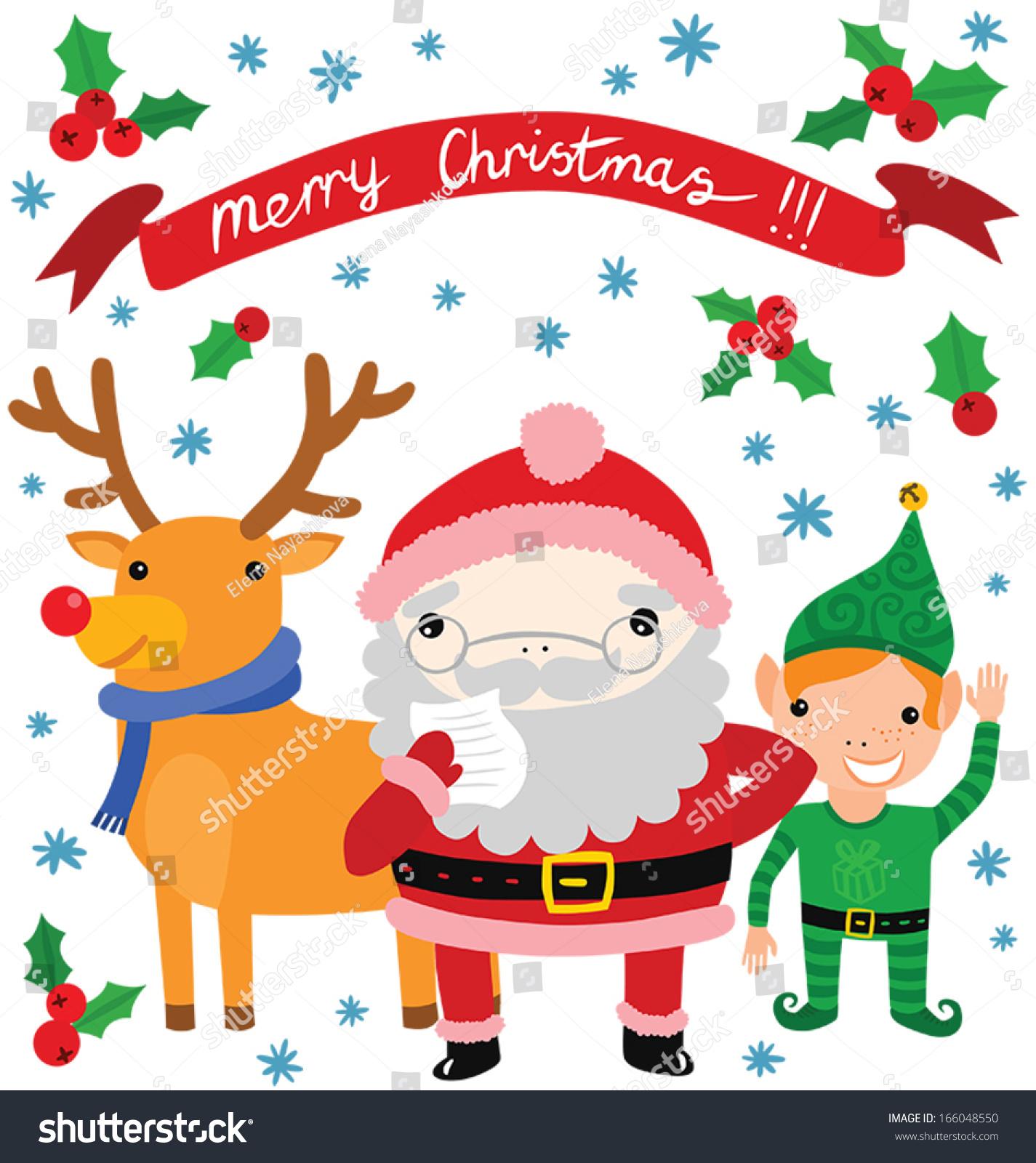 cute santa his helpers elf reindeer stock vector 166048550