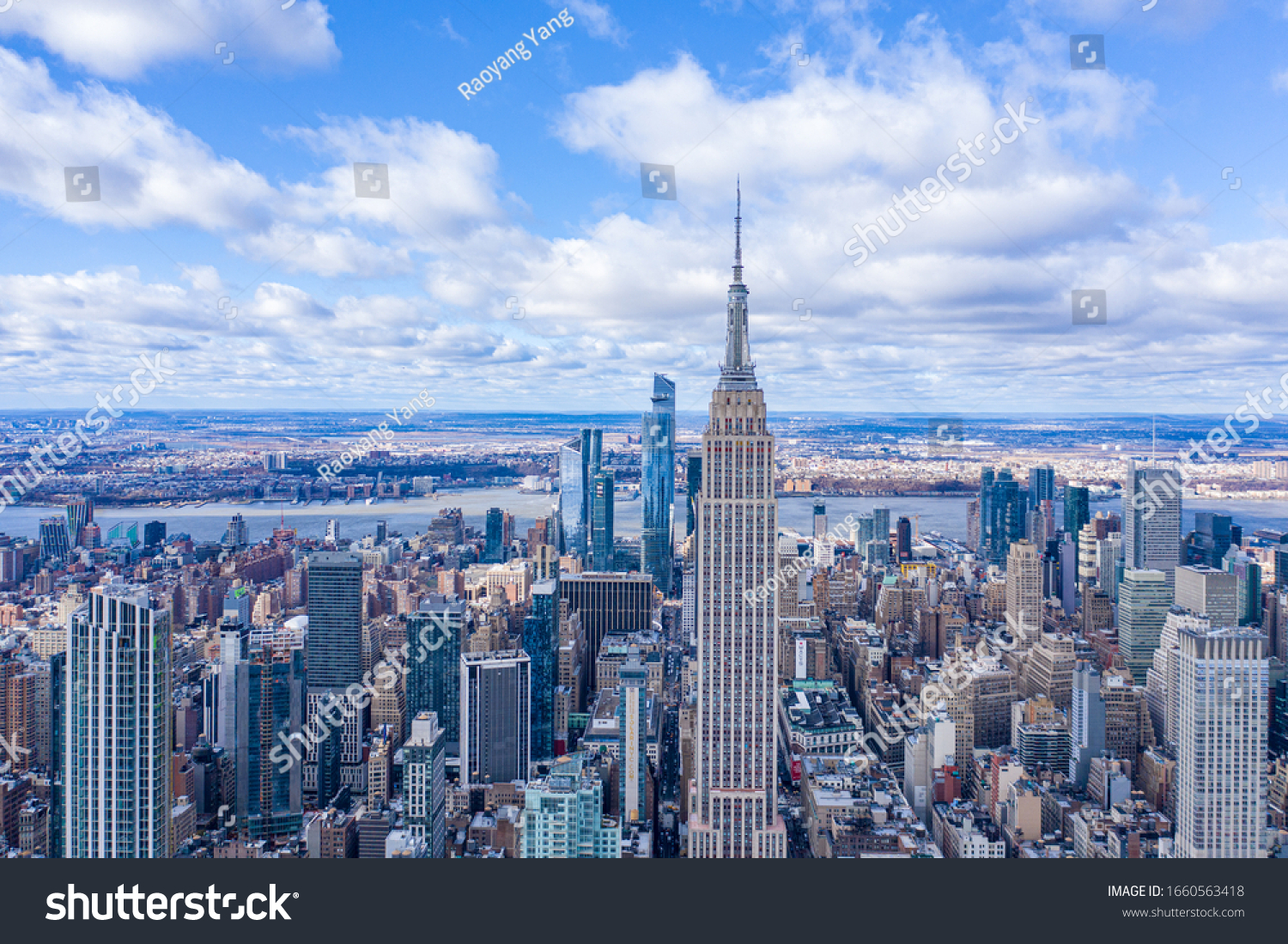 New York City Midtown Skyline with Hudson Yard in daytime, aerial photography #1660563418