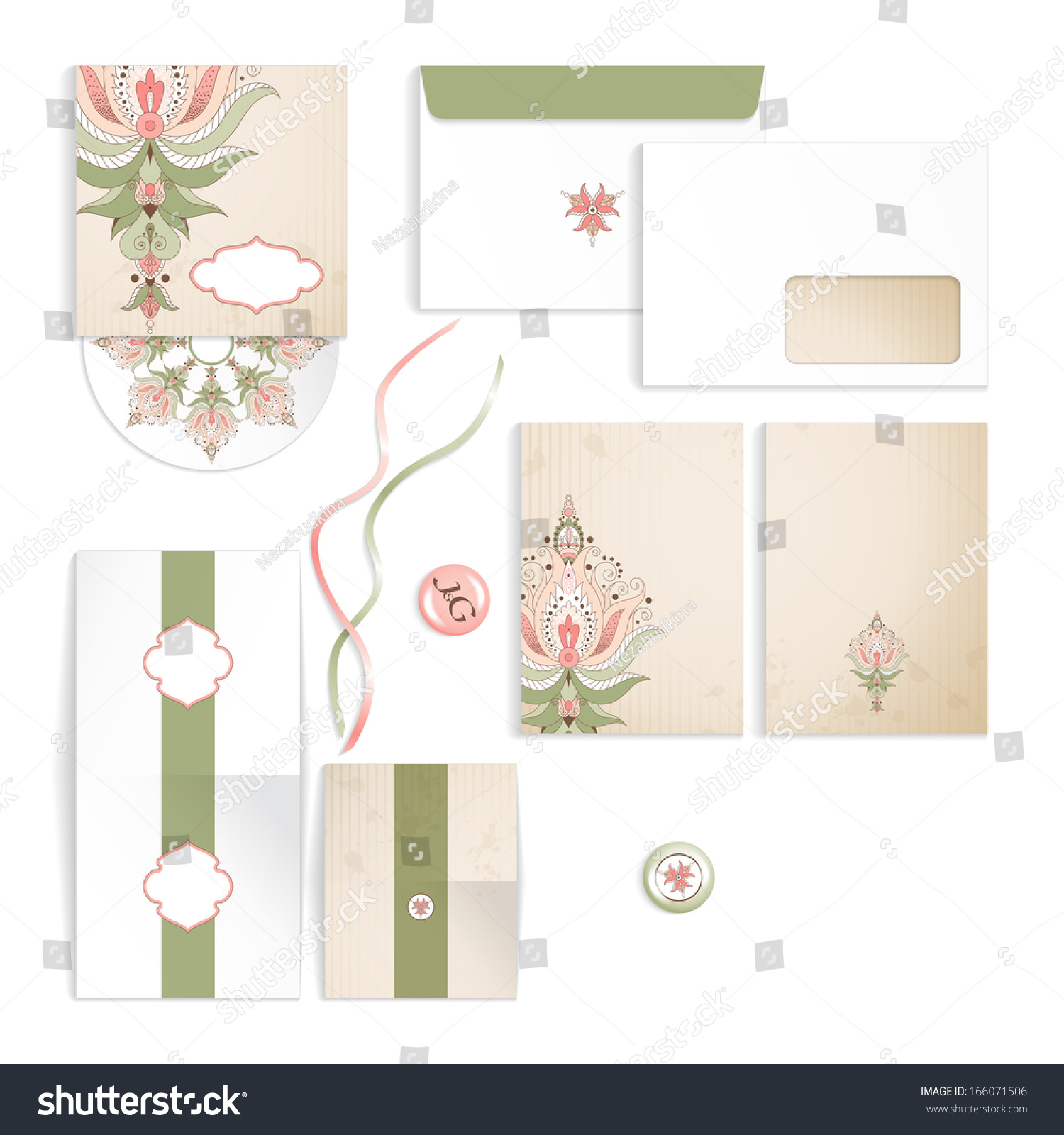 Templates Design Wedding Oriental Floral Pattern Stock