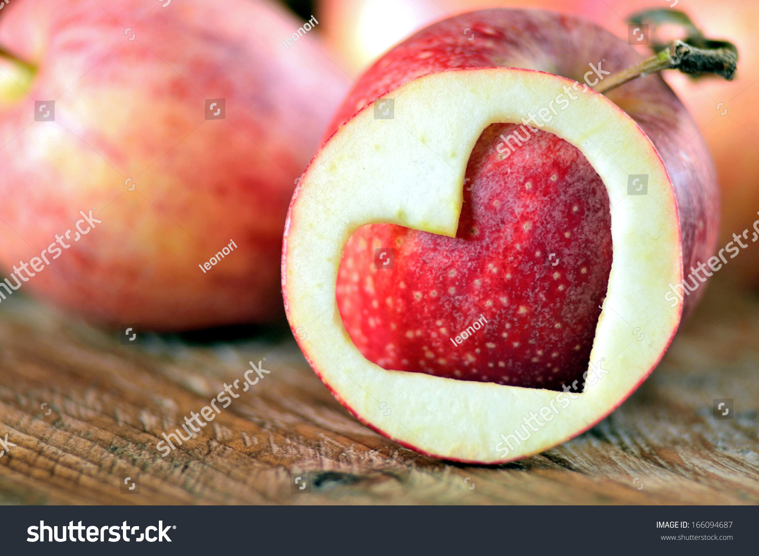 Apples On Rustic Wood Heart Symbol Love Stock Photo Edit Now