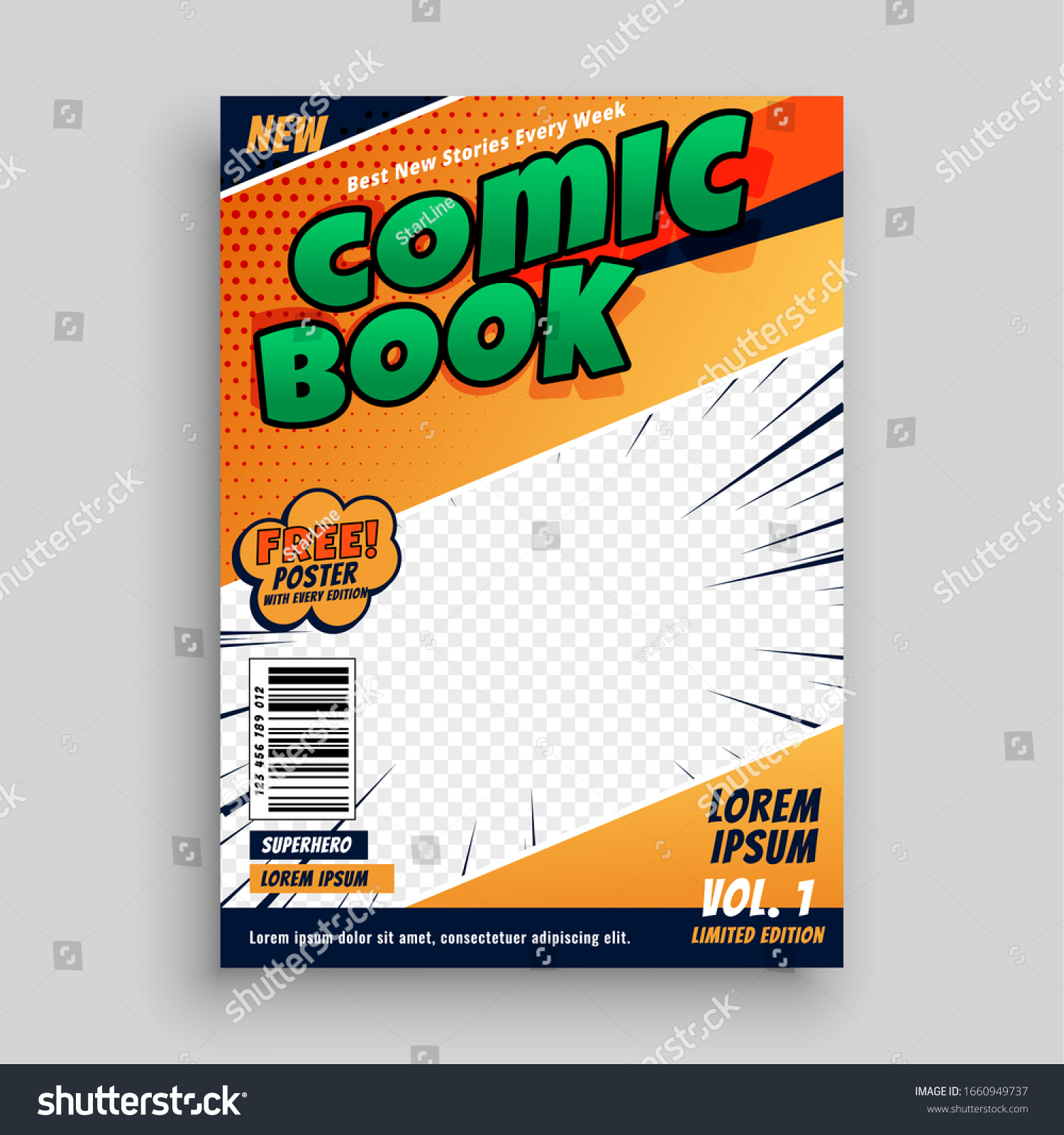 Comic Book Magazine Cover Page Template Stock Vector Royalty Free 1660949737