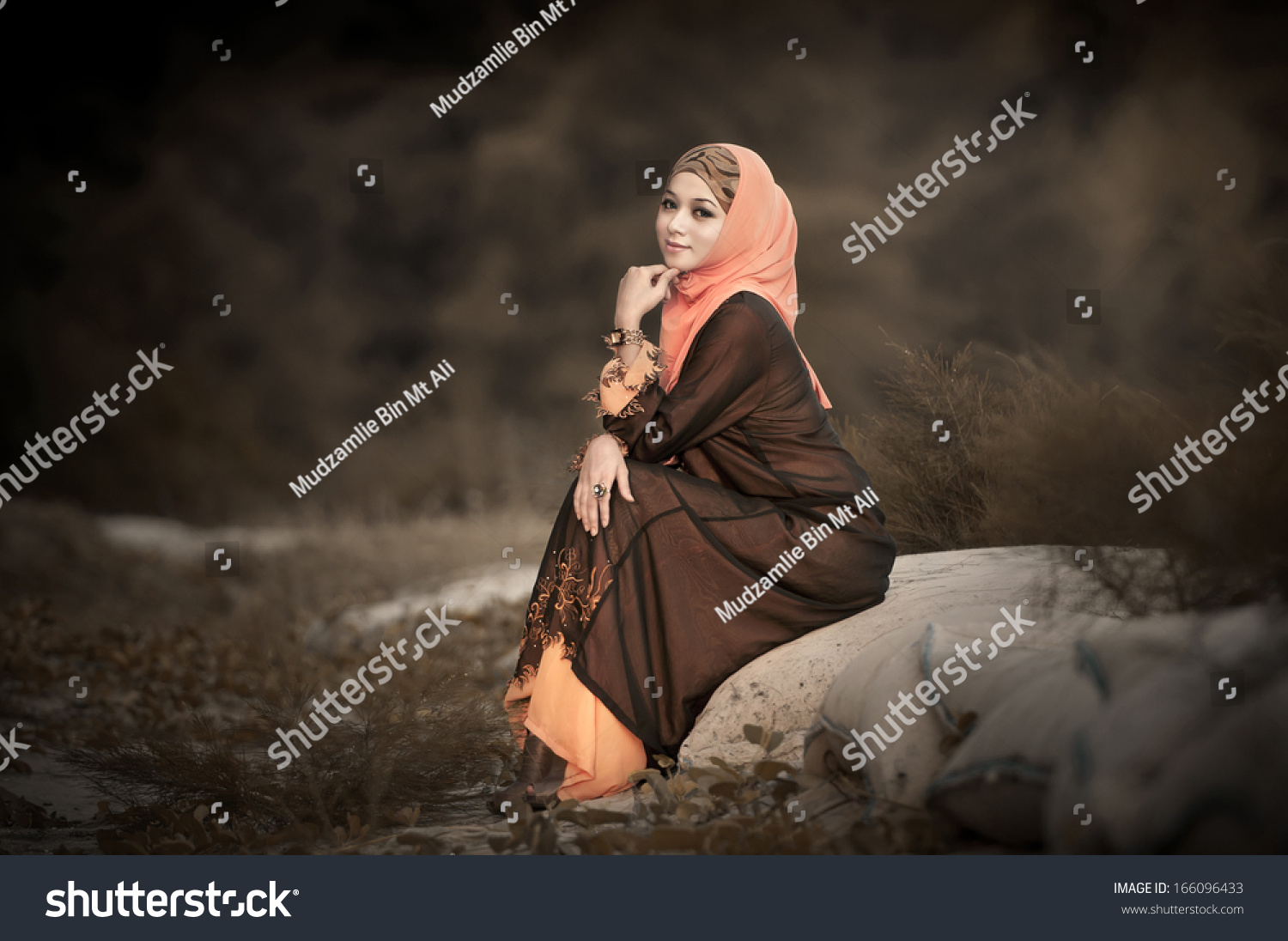 Lady Muslimah Posing Garden Wear Hijab Stock Photo (Edit Now ...