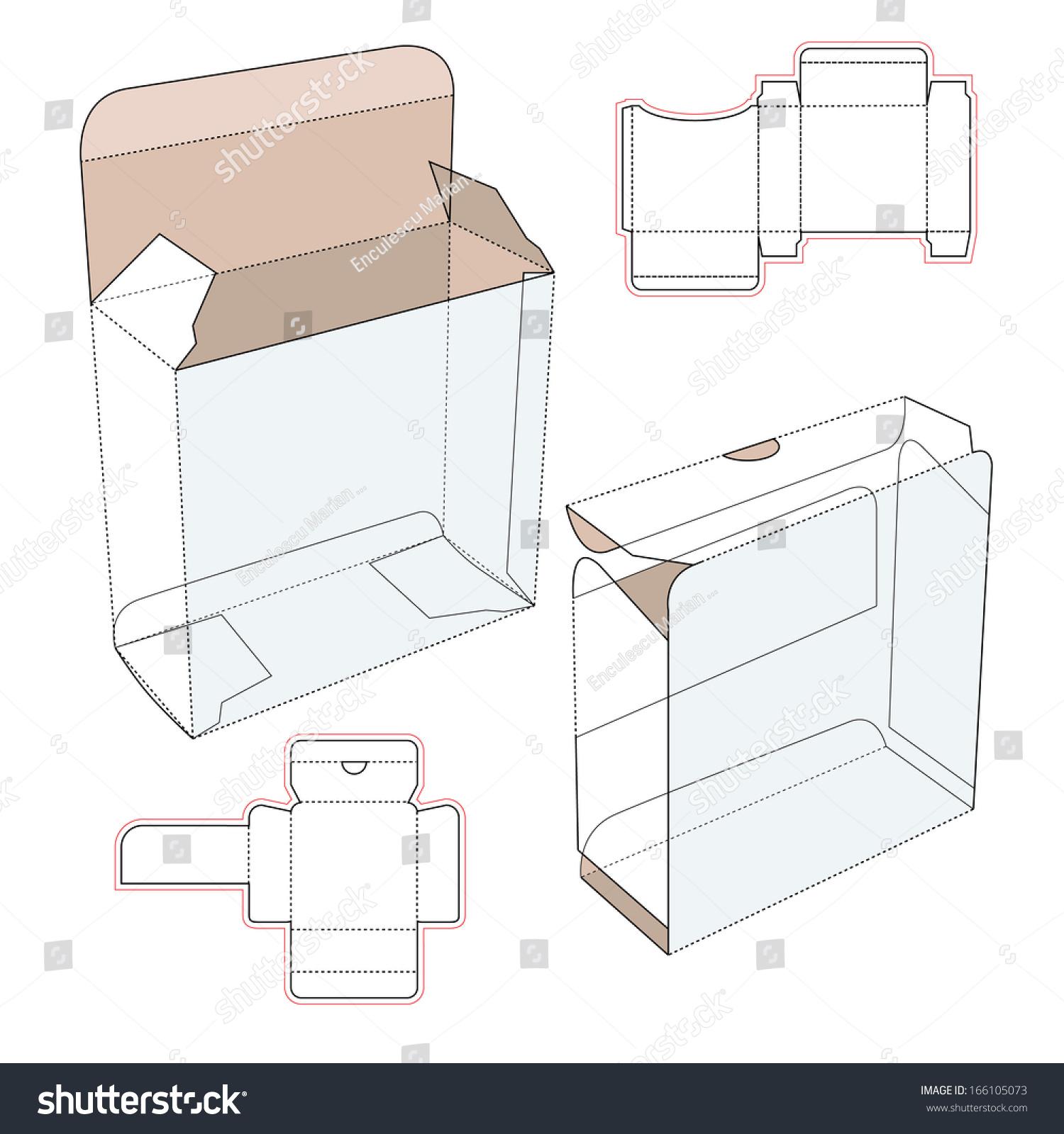 Perfume Cardboard Box Blueprint Template Stock Vector 166105073 ...