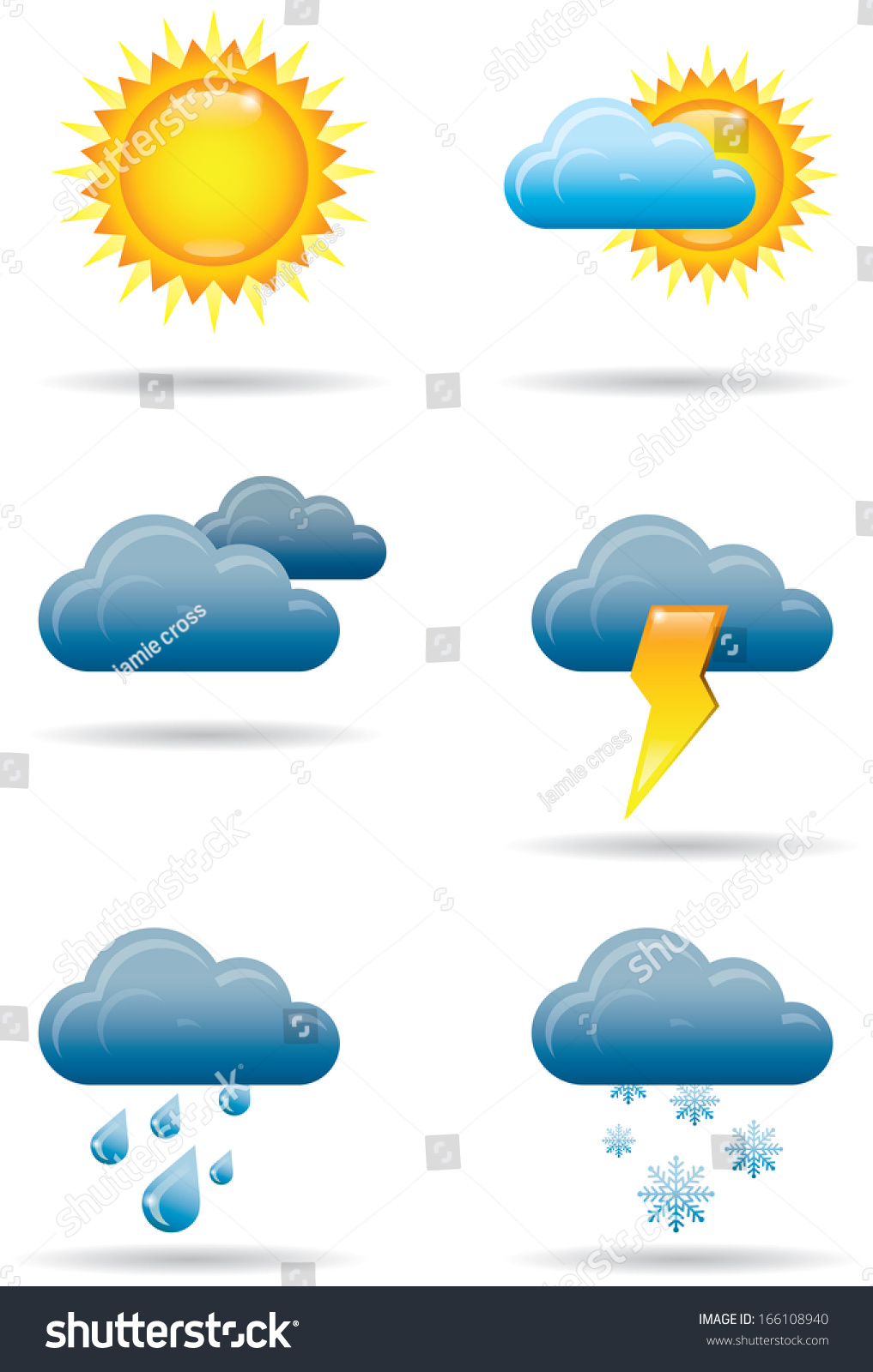 Six Full Color Universal Weather Icons Stock Illustration 166108940