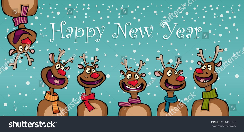 Happy New Year Funny Cartoon Deer Stock Vector 166115357 ...