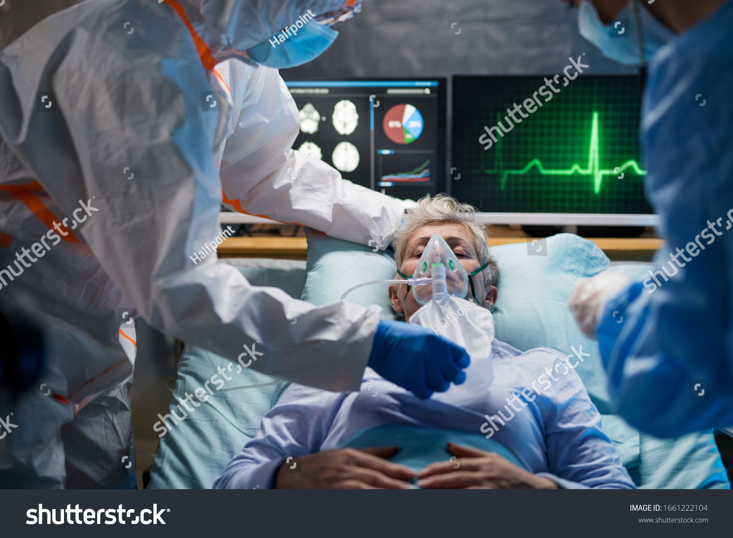 Infected patient in quarantine lying in bed in hospital, coronavirus concept. #1661222104