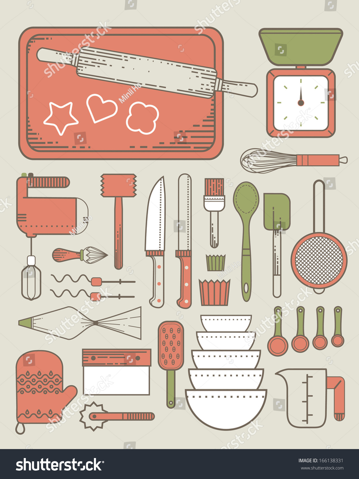 Baking Supplies Color Stock Illustration 166138331