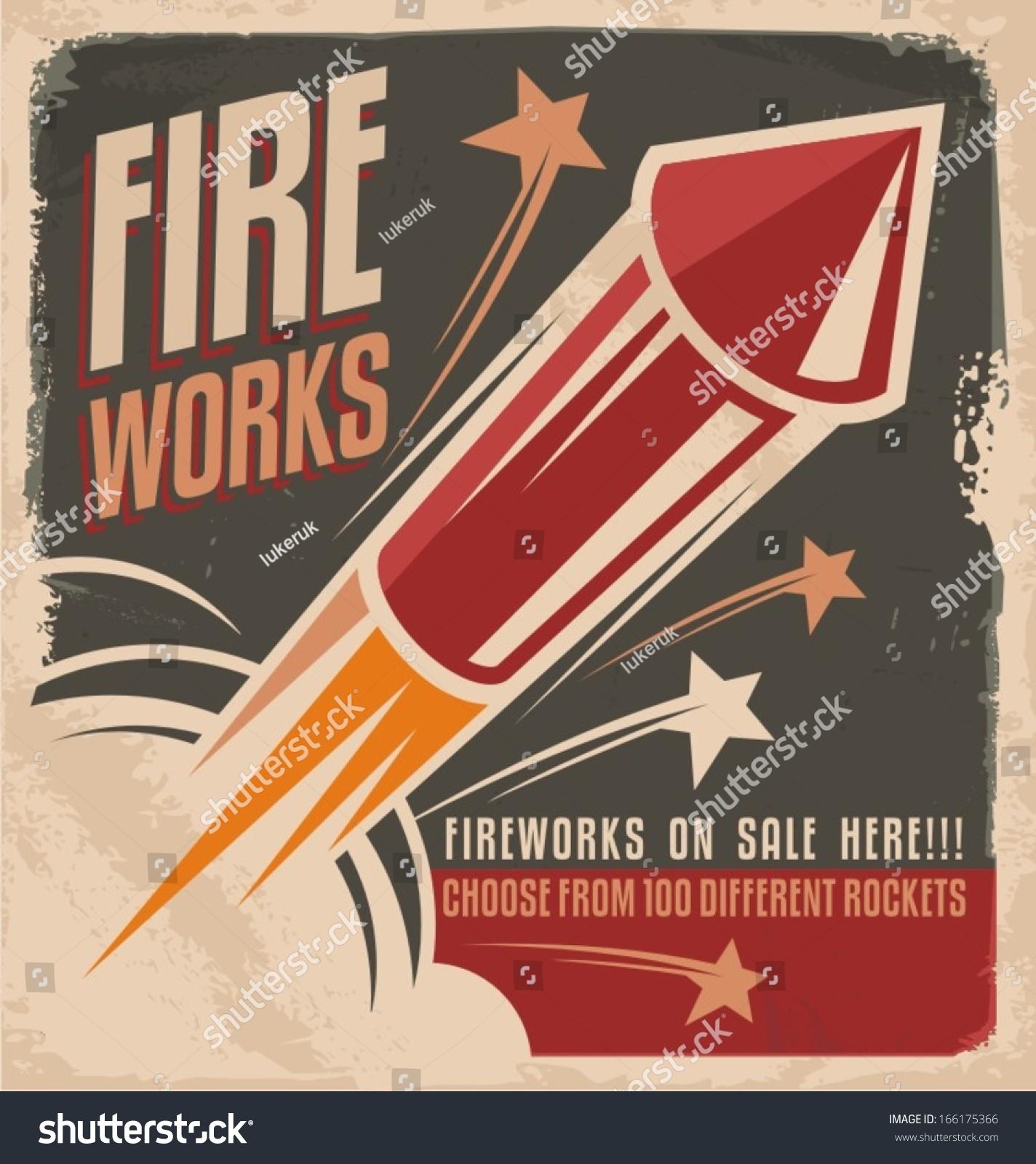 Vintage Fireworks Poster Design Retro Flyer Stock Vector 166175366 ...