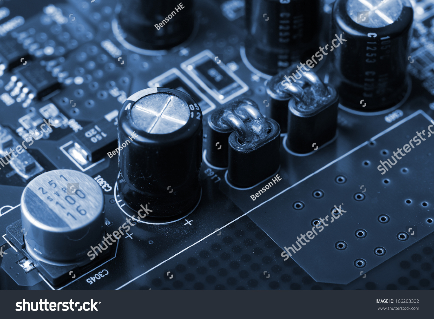 Royalty Free Application Specific Integrated Circuit 166203302 Electronic Chip Stock Image Inductors Capacitorselectrolytic Capacitors And Resistors Mounted On A Printed Wiring Board