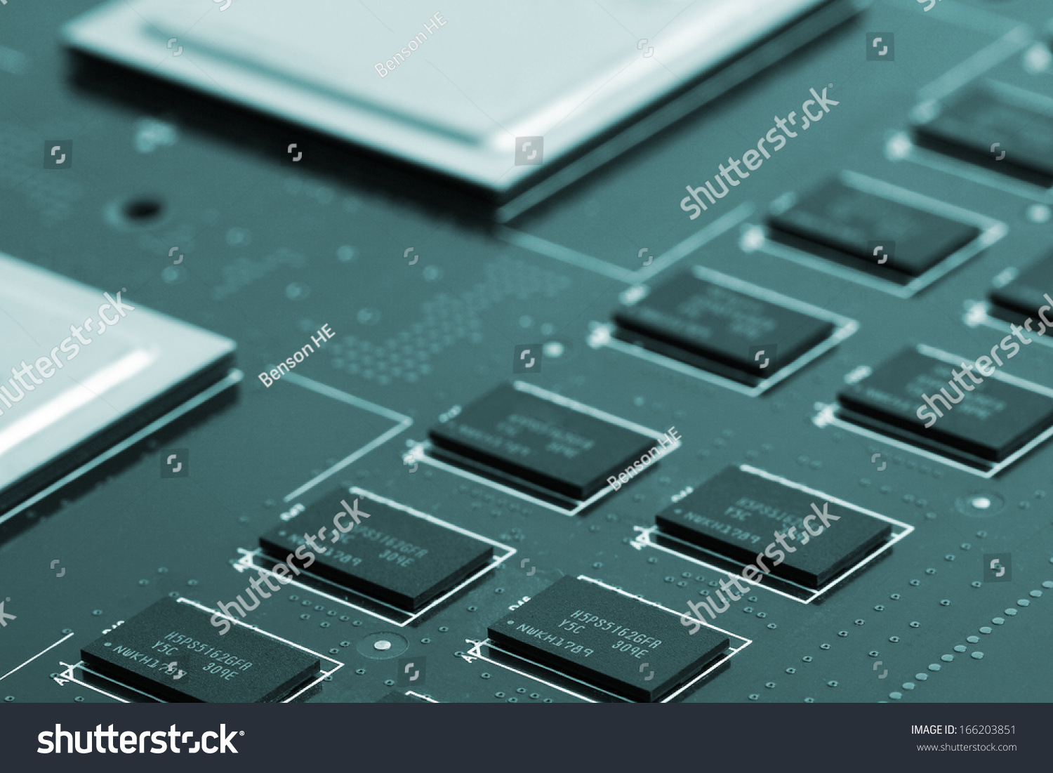 Application Specific Integrated Circuit Double Data Stock Photo Circuits Chips And Rate Synchronous Dynamic Random Access Memory Mounted
